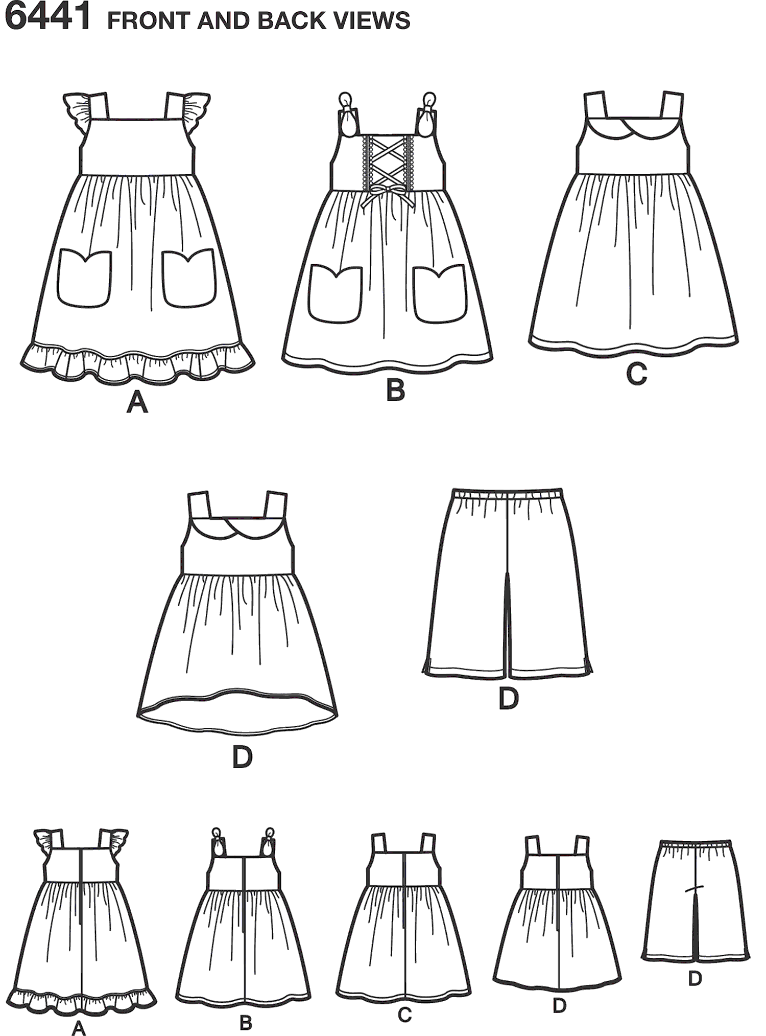 New Look Pattern 6441 Toddlers Easy Dresses Top and Cropped Pants Line Art From Patternsandplains.com