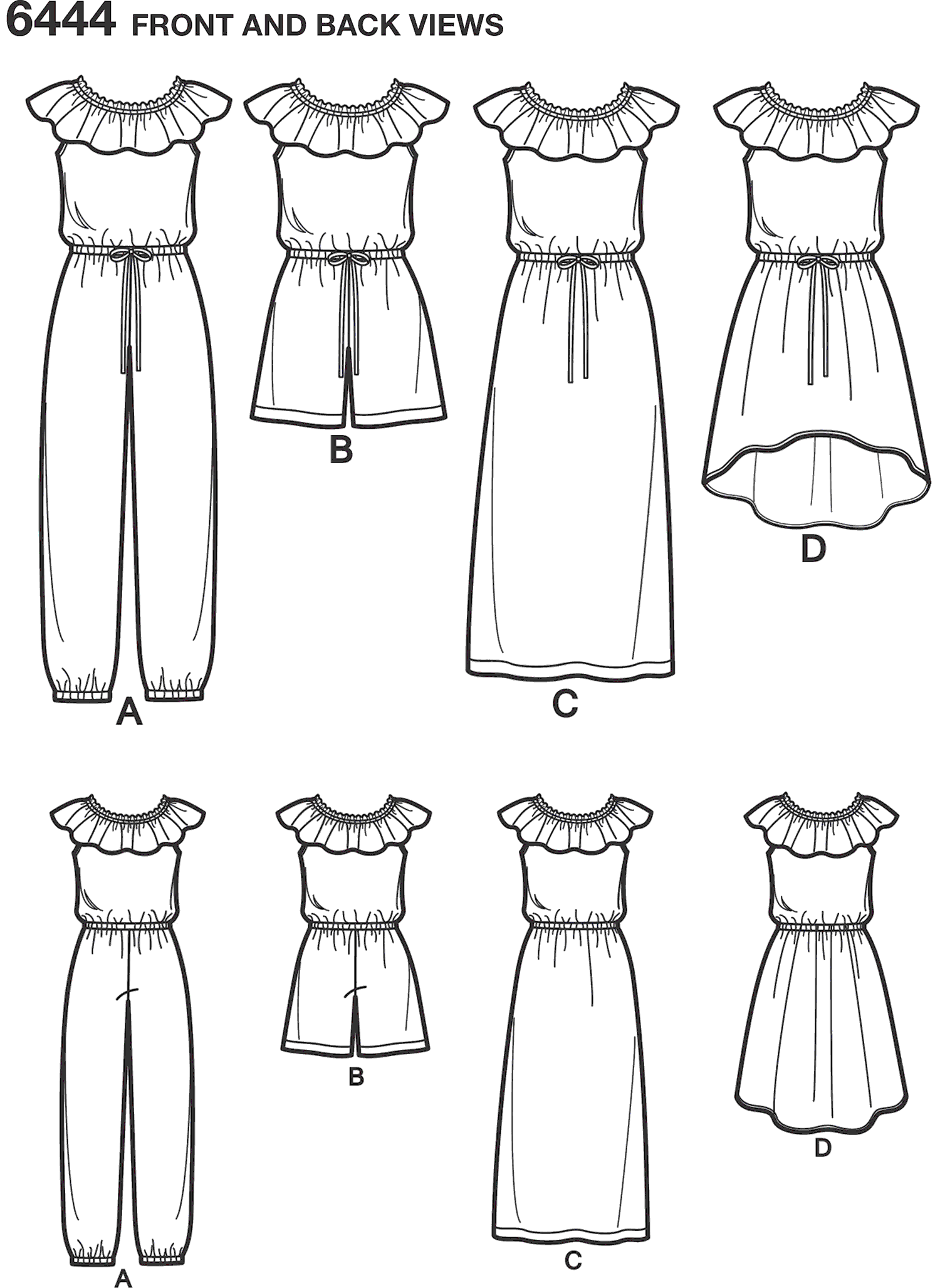New Look Pattern 6444 Girls Dress and Jumpsuit in Two Lengths Line Art From Patternsandplains.com