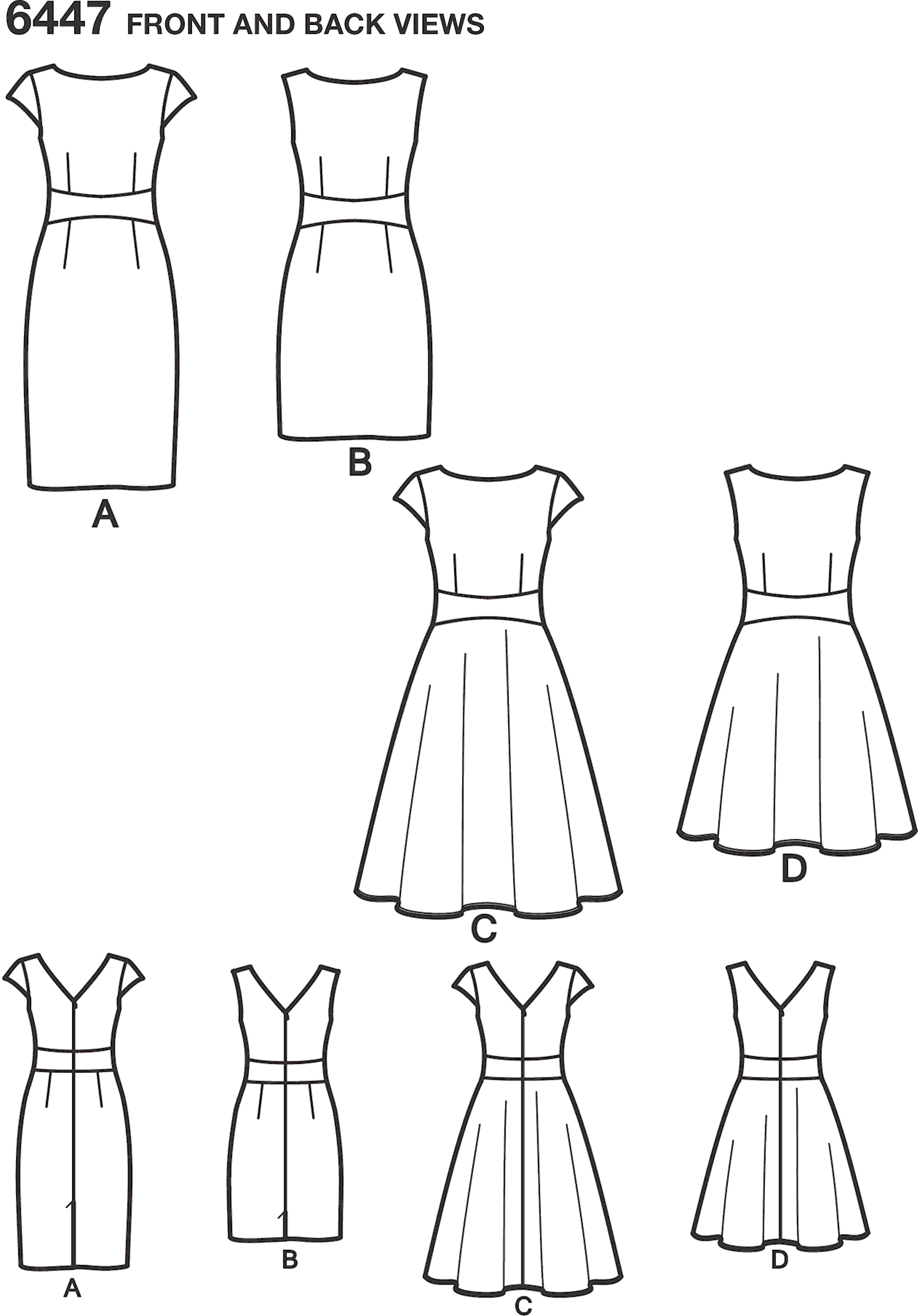 New Look Pattern 6447 Misses Dresses Line Art From Patternsandplains.com