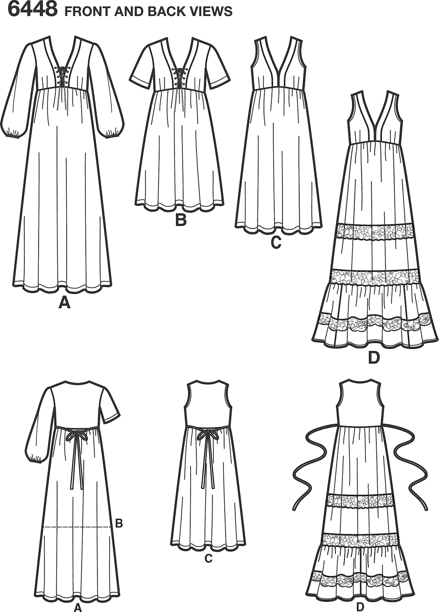 New Look Pattern 6448 Misses Easy V Neck Dresses Line Art From Patternsandplains.com