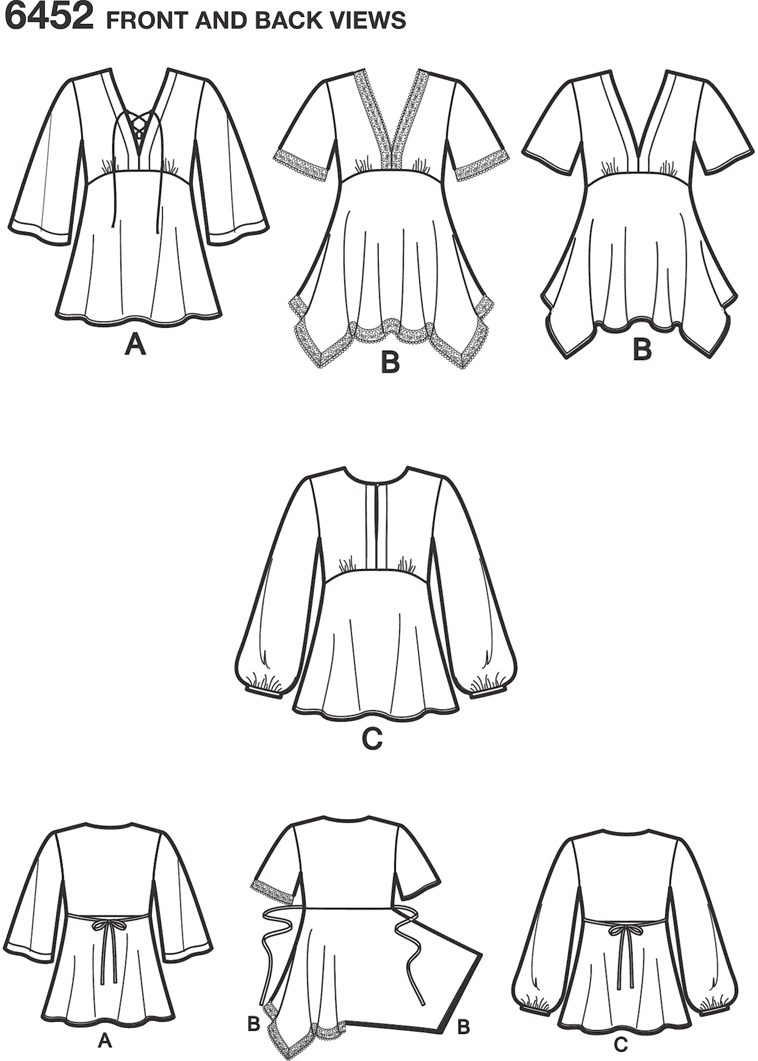 New Look Pattern 6452 Misses Tops with Bodice and Hemline Variations Line Art From Patternsandplains.com