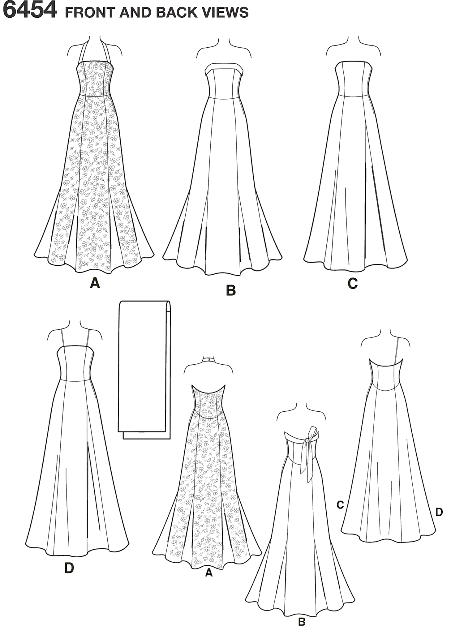 New Look Pattern 6454 Misses Special Occasion Dresses Line Art From Patternsandplains.com