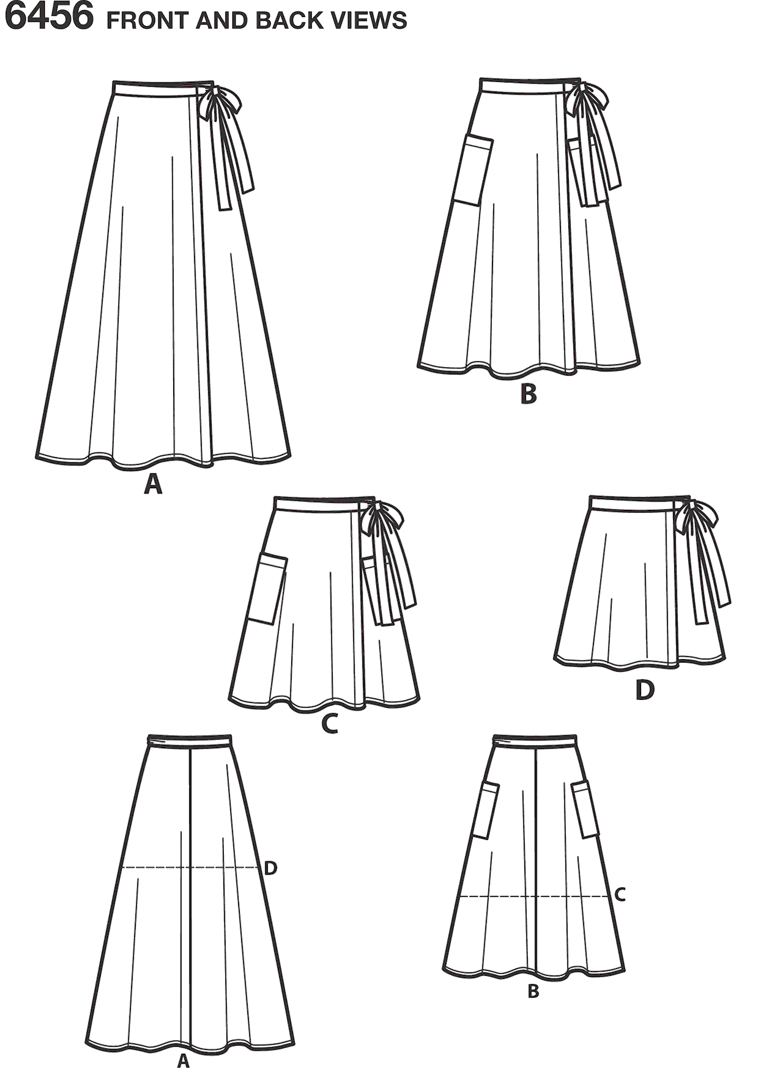 New Look Pattern 6456 Misses Easy Wrap Skirts in Four Lengths Line Art From Patternsandplains.com