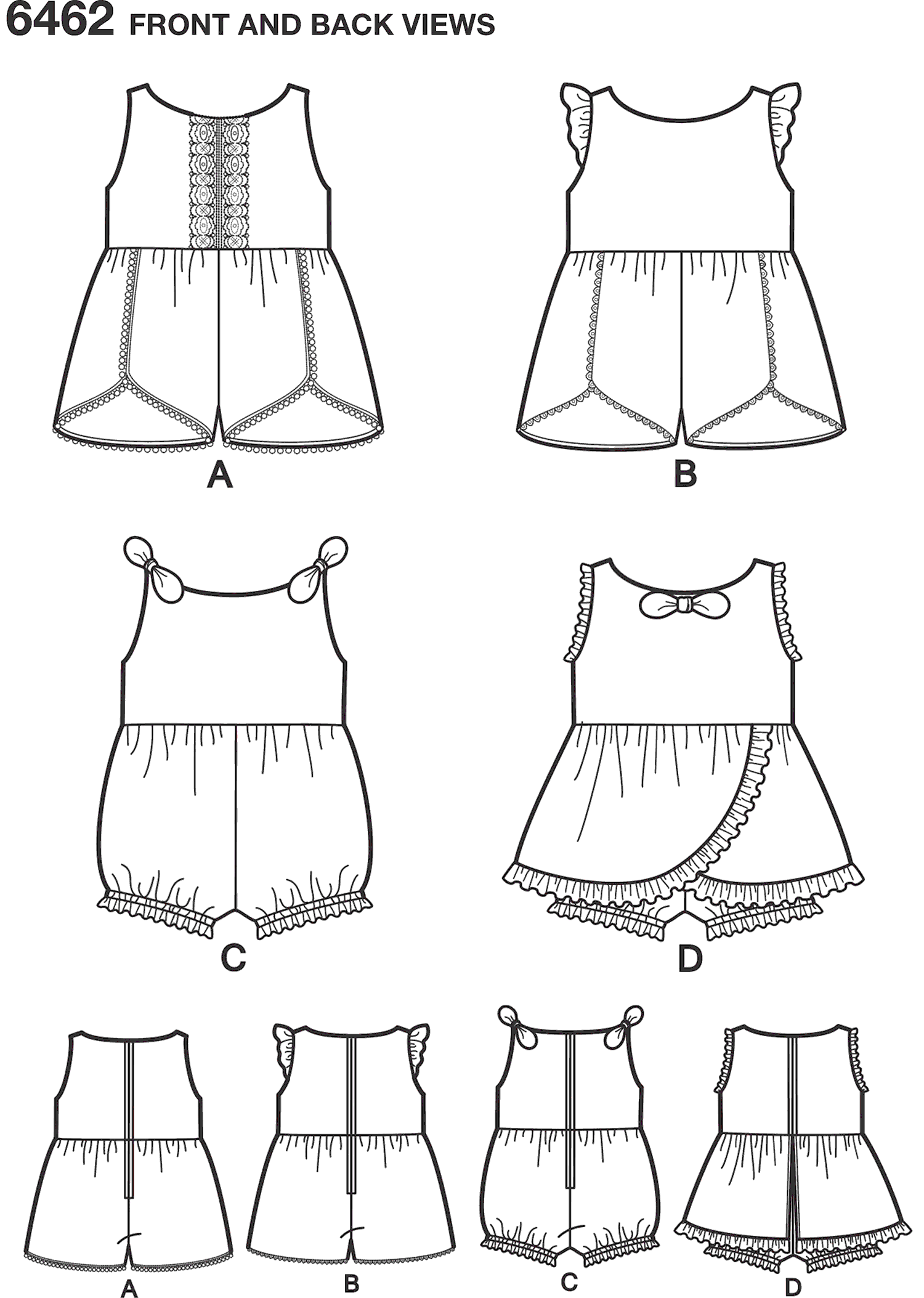 New Look Pattern 6462 Babies Rompers with Trim Variations Line Art From Patternsandplains.com