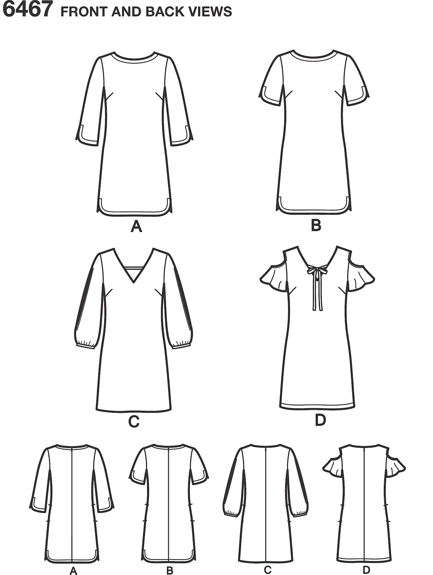 New Look Pattern 6467 Misses Shift Dresses with neckline sleeve and hem variations Line Art From Patternsandplains.com