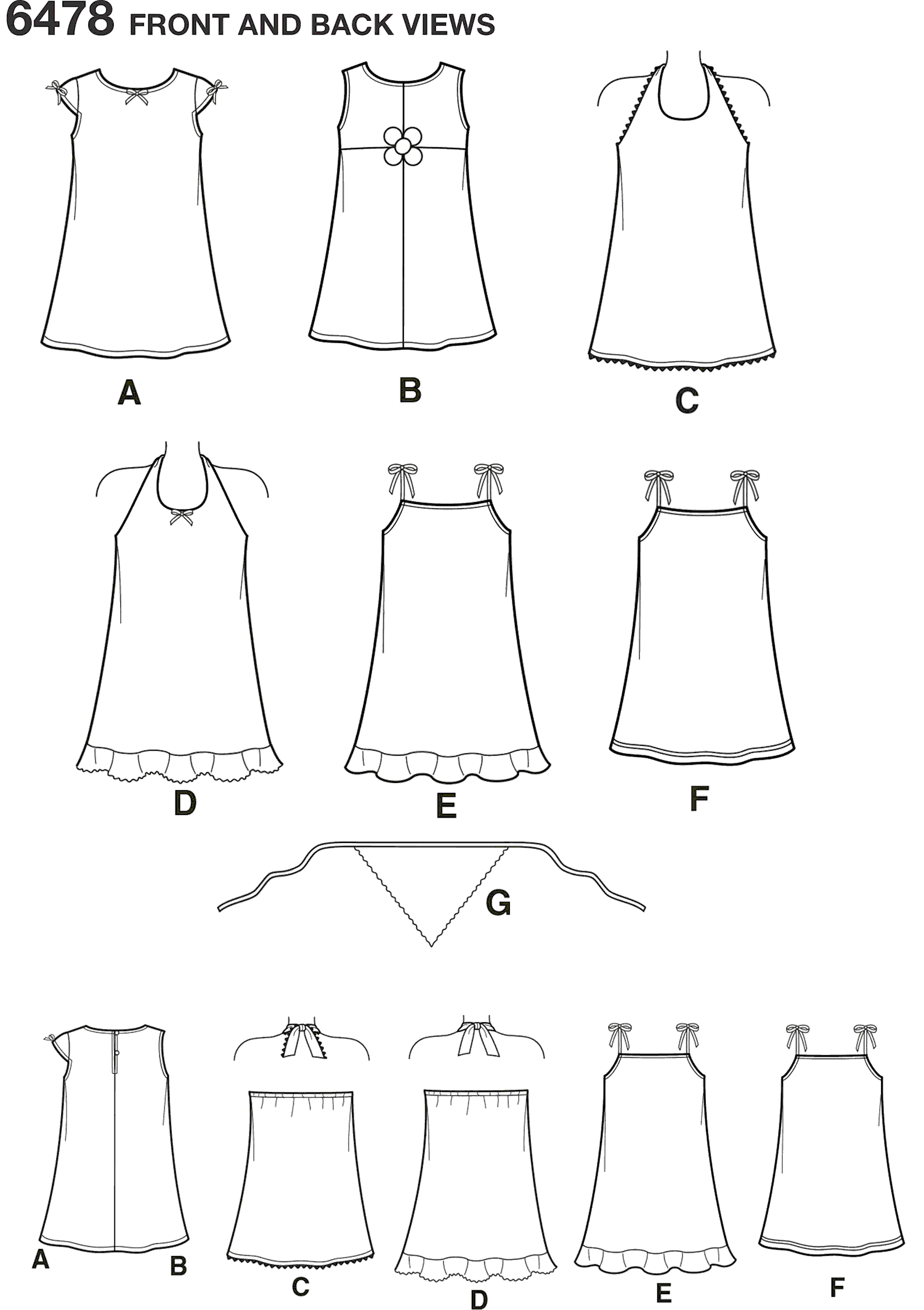 New Look Pattern 6478 Child Dresses Line Art From Patternsandplains.com