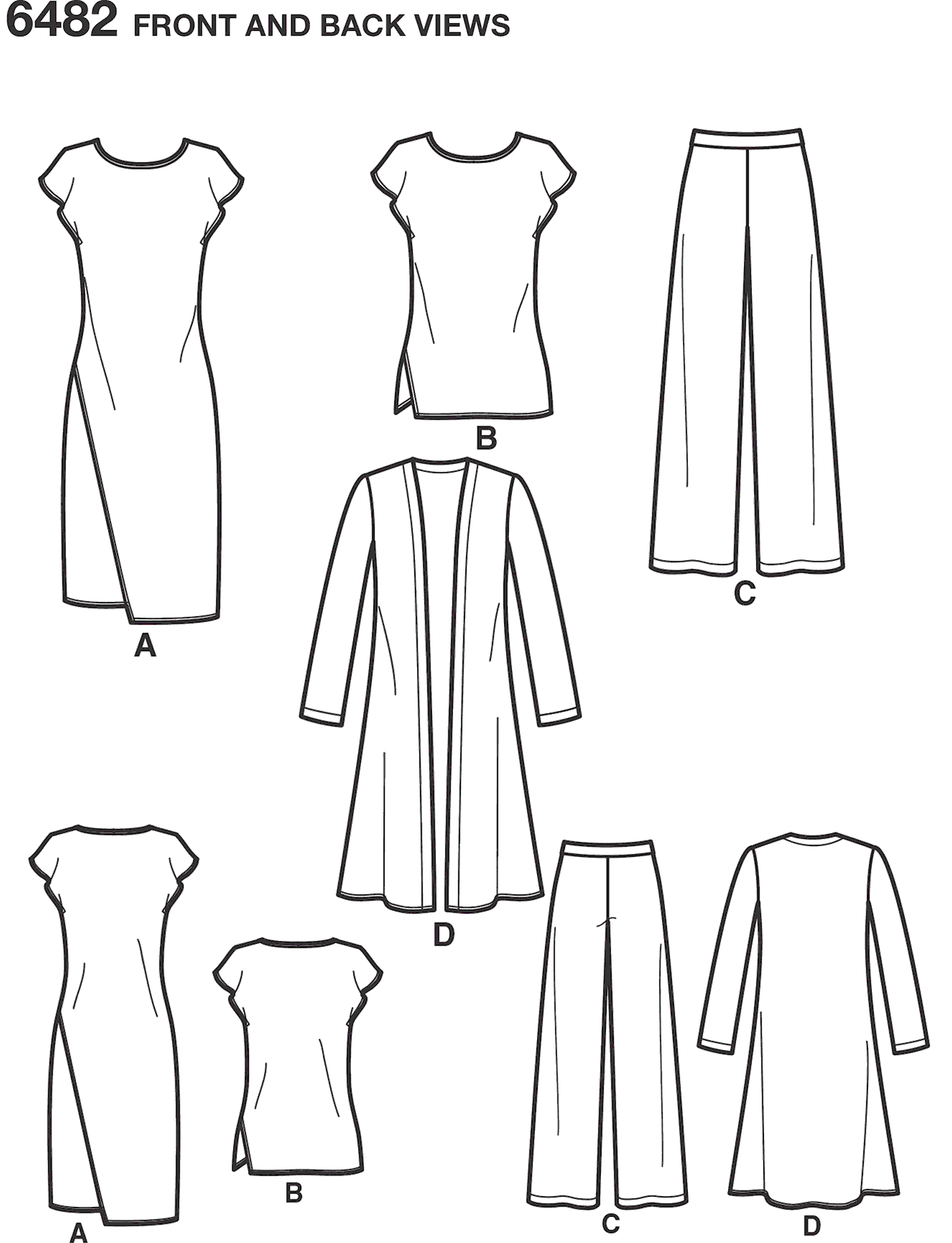 New Look Pattern 6482 Misses Knit Dress Tunic Pants and Duster Line Art From Patternsandplains.com