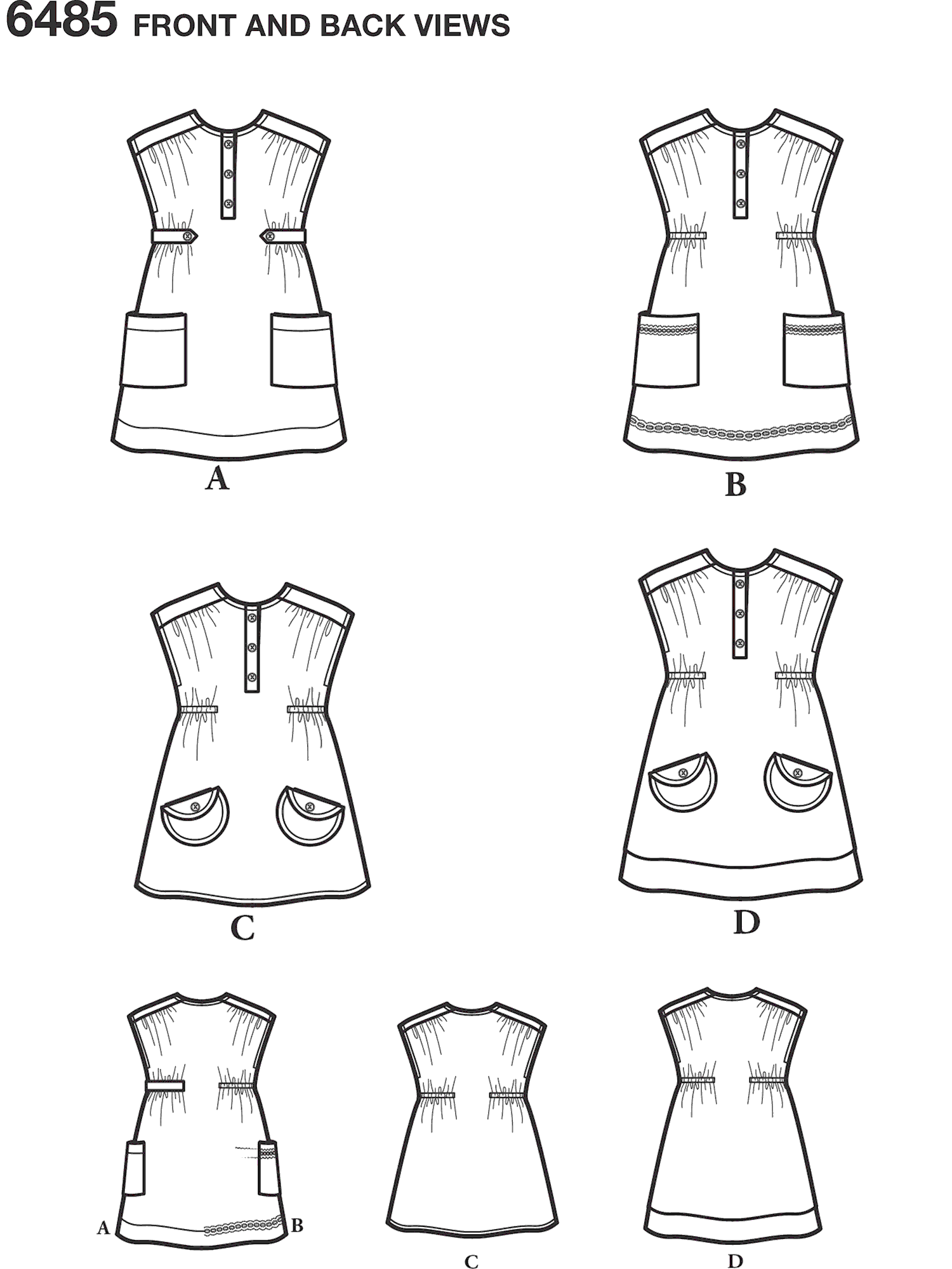 New Look Pattern 6485 Toddlers Dress or Tunic with Fabric Variations Line Art From Patternsandplains.com