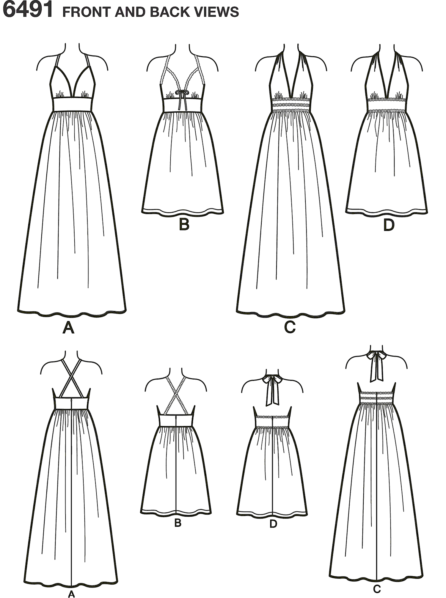 New Look Pattern 6491 Misses Dresses in two Lengths with Bodice Variations Line Art From Patternsandplains.com