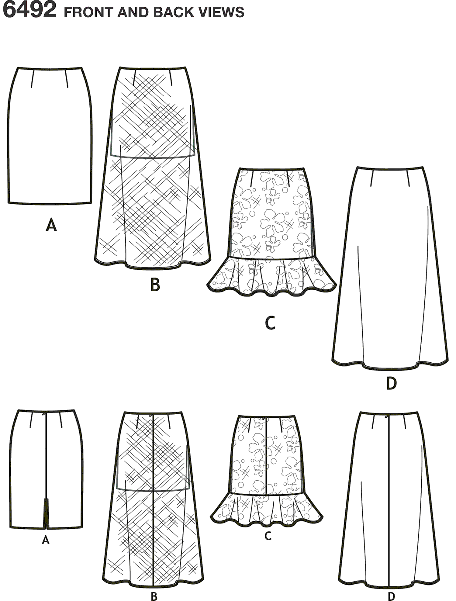 New Look Pattern 6492 Misses Skirts with Length Variations Line Art From Patternsandplains.com