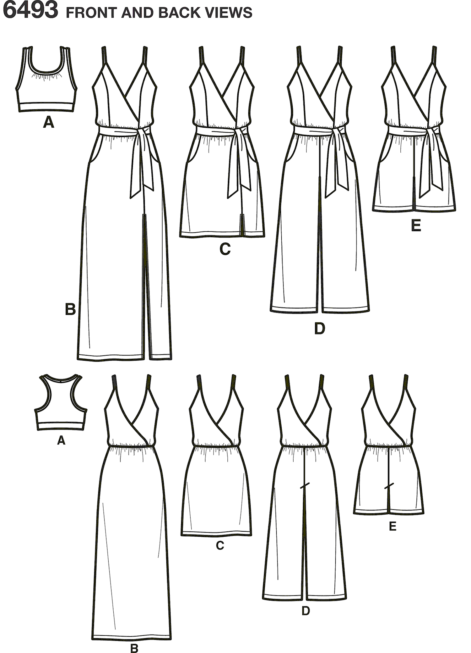 New Look Pattern 6493 Misses Jumpsuit and Dress in Two Lengths with Bralette Line Art From Patternsandplains.com