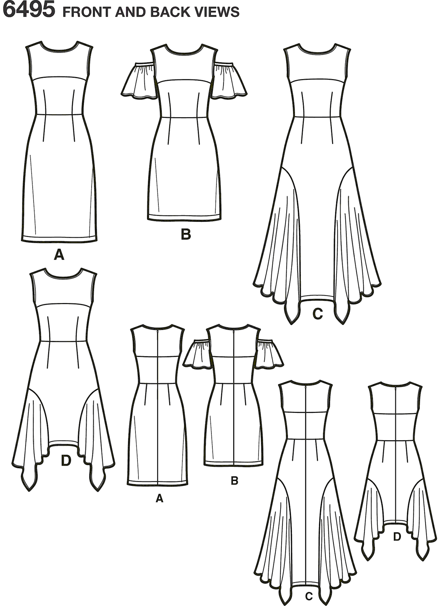New Look Pattern 6495 Misses Dresses with Length Variations Line Art From Patternsandplains.com
