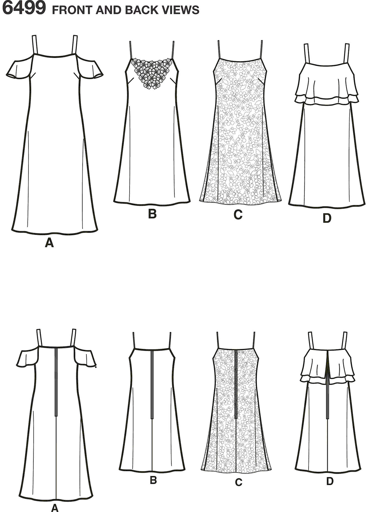 New Look Pattern 6499 Misses Spaghetti Strap Dresses with Length Variations Line Art From Patternsandplains.com