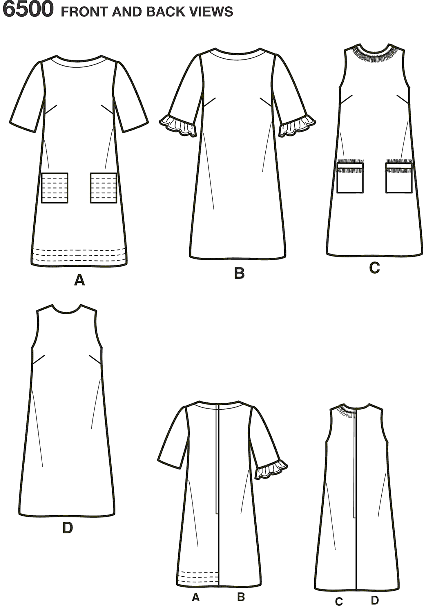 New Look Pattern 6500 Misses Dress with Neckline Sleeve and Pocket Variations Line Art From Patternsandplains.com