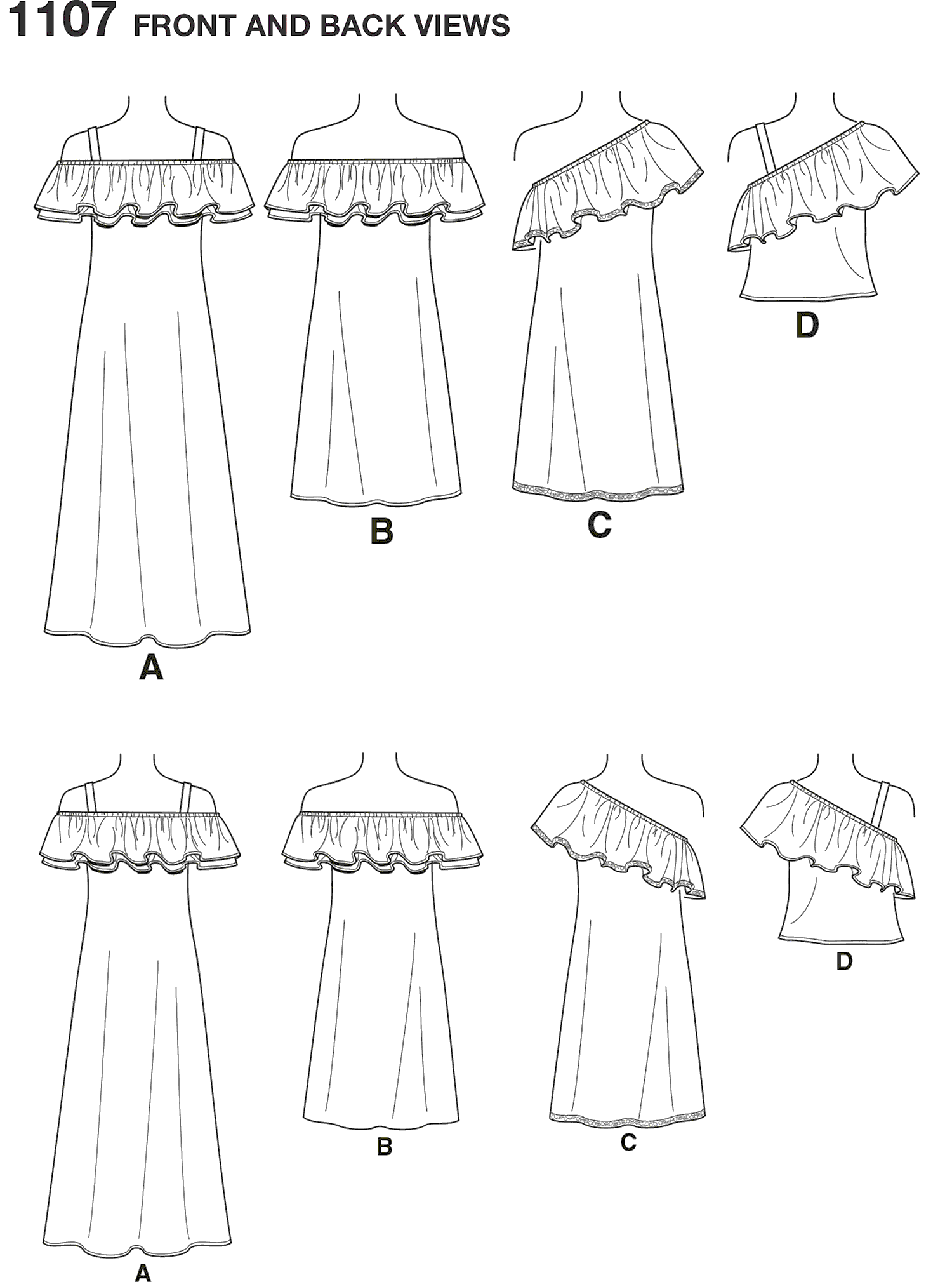 New Look Pattern 6507 Womens Dresses and Top Line Art From Patternsandplains.com