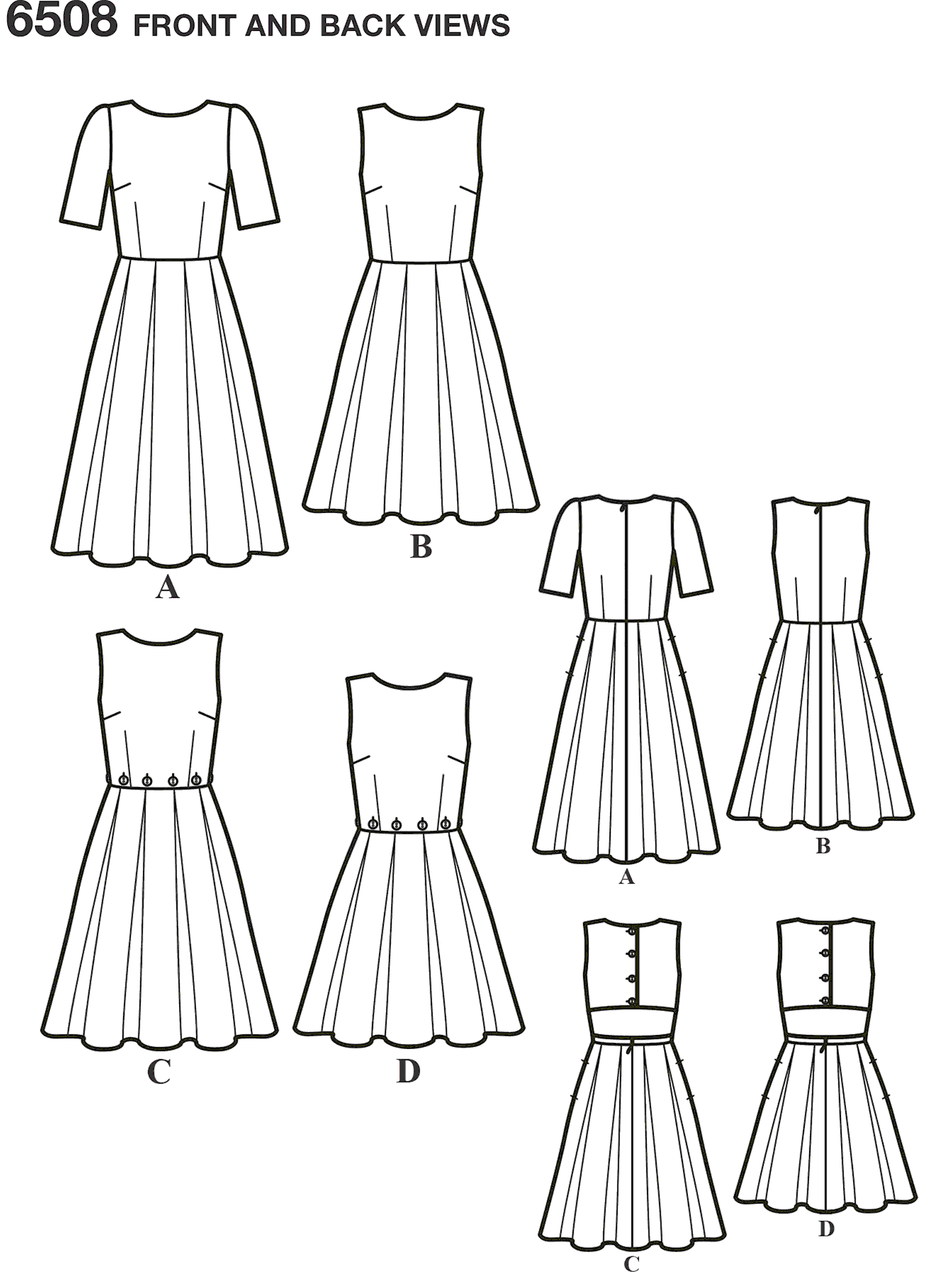 New Look Pattern 6508 Womens Dress with Open or Closed Back Variations Line Art From Patternsandplains.com