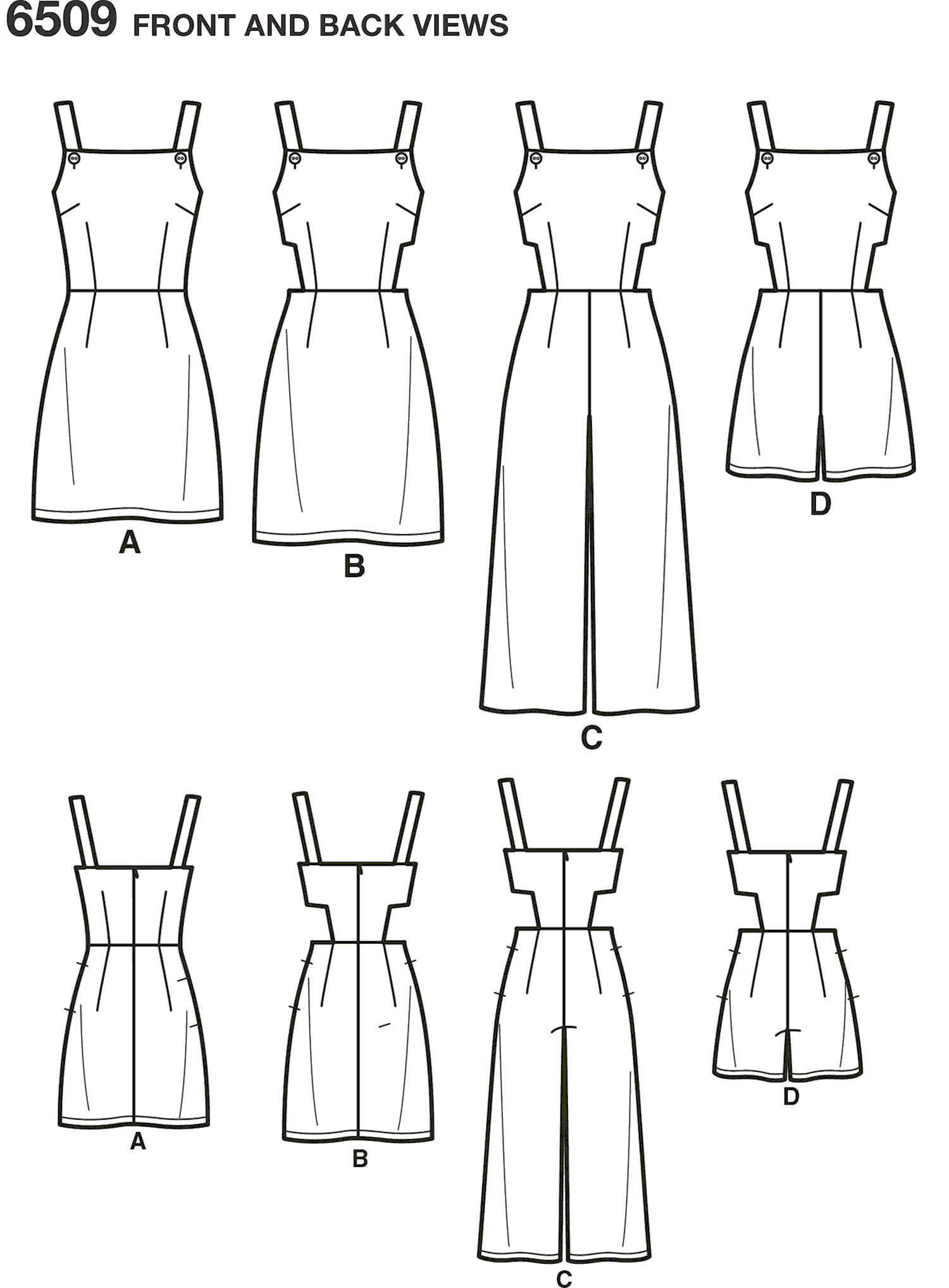 New Look Pattern 6509 Womens Jumper Romper and Dress with Bodice Variations Line Art From Patternsandplains.com