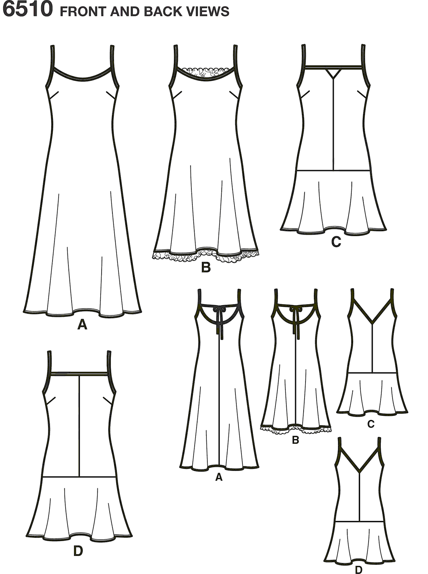 New Look Pattern 6510 Womens Slip Dresses with Length and Back Variations Line Art From Patternsandplains.com