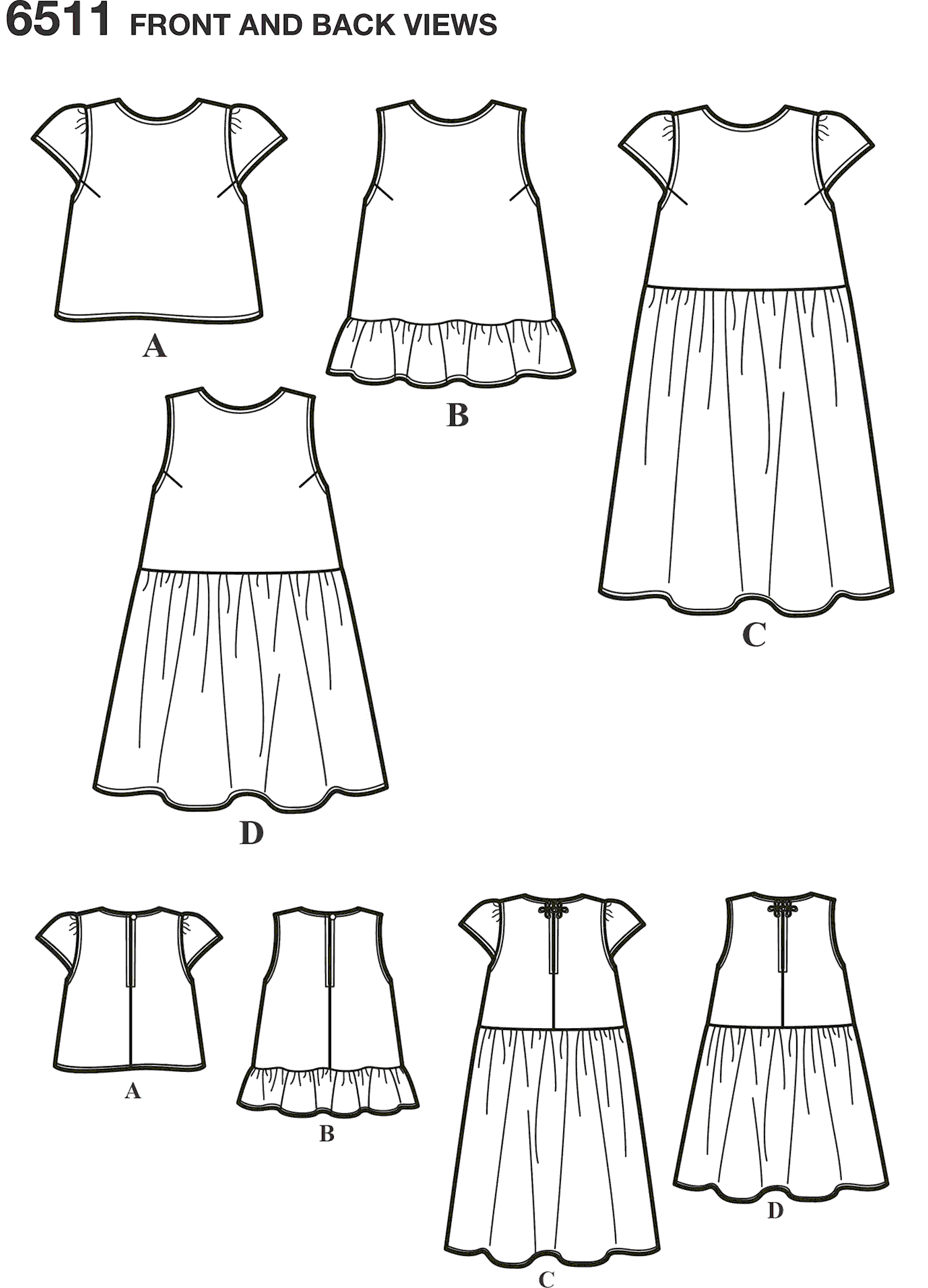 New Look Pattern 6511 Womens Tops With Length and Sleeve Variations Line Art From Patternsandplains.com