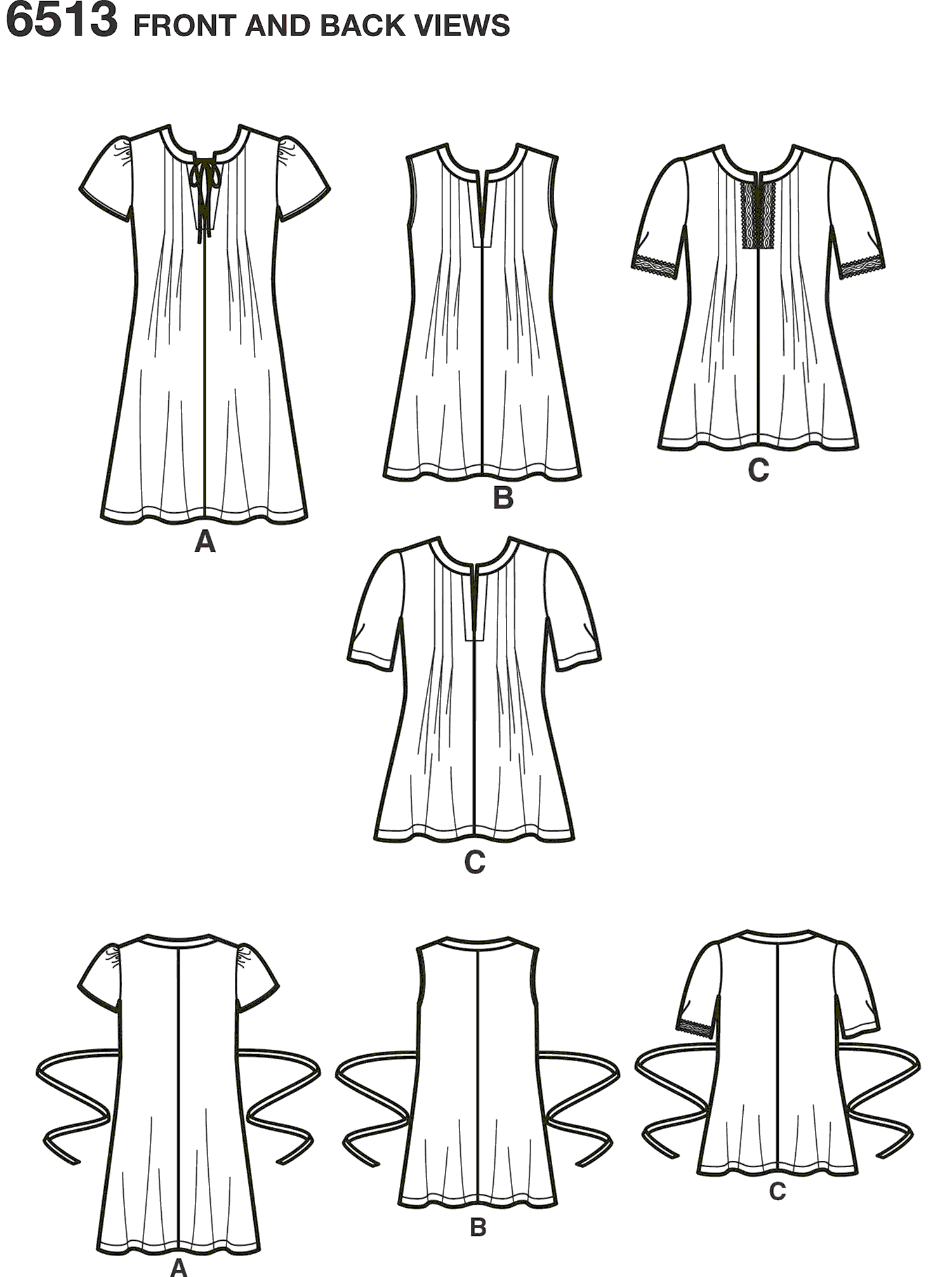 New Look Pattern 6513 Womens Dress or Top With Sleeve and Trim Variations Line Art From Patternsandplains.com