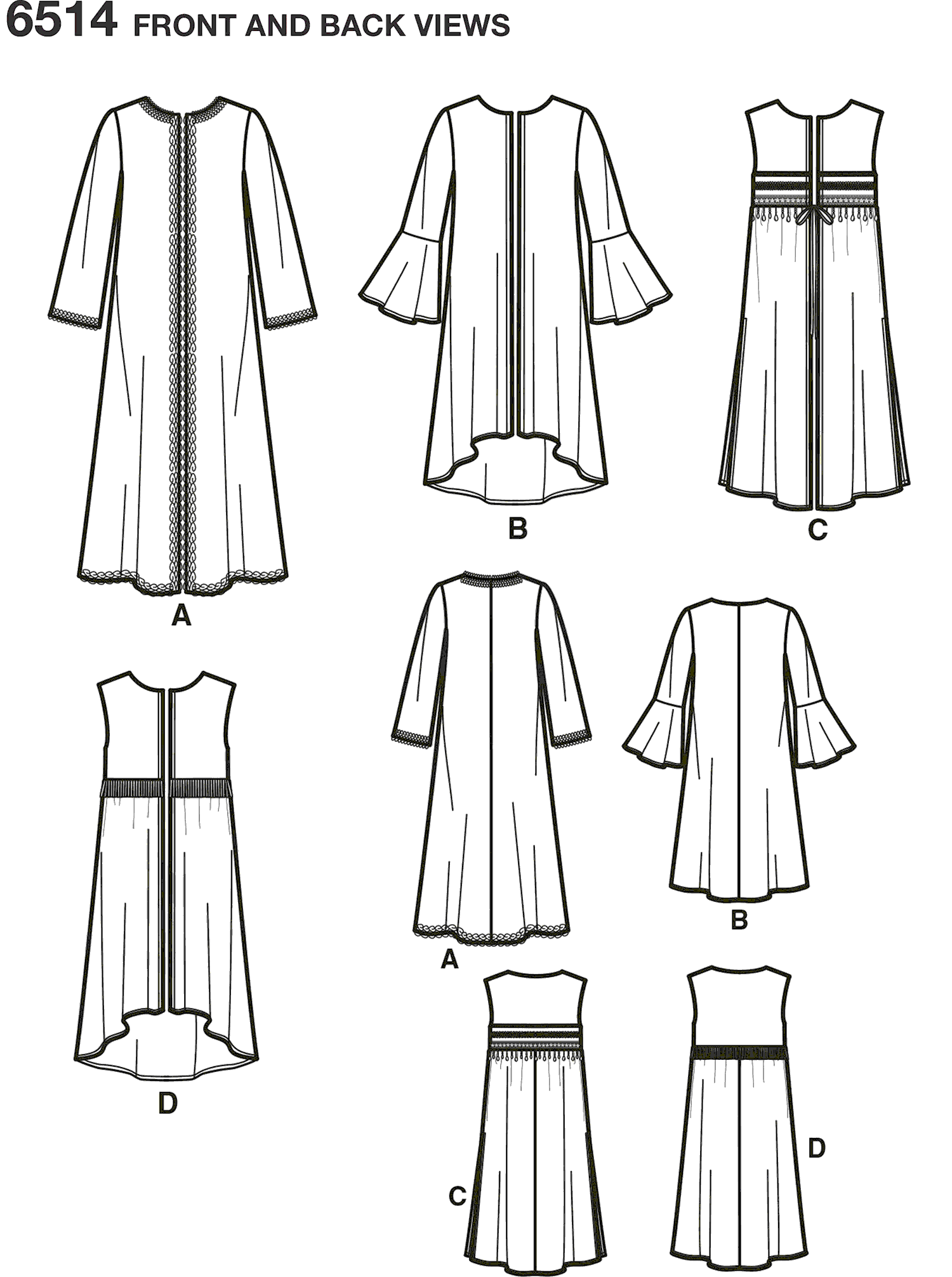 New Look Pattern 6514 Womens Coat or Vest with Sleeve and Length Variations Line Art From Patternsandplains.com