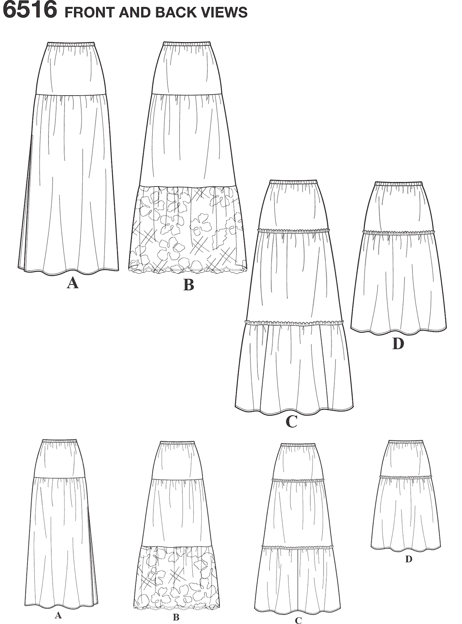 New Look Pattern 6516 Womens Skirts With Length and Fabric Variations Line Art From Patternsandplains.com