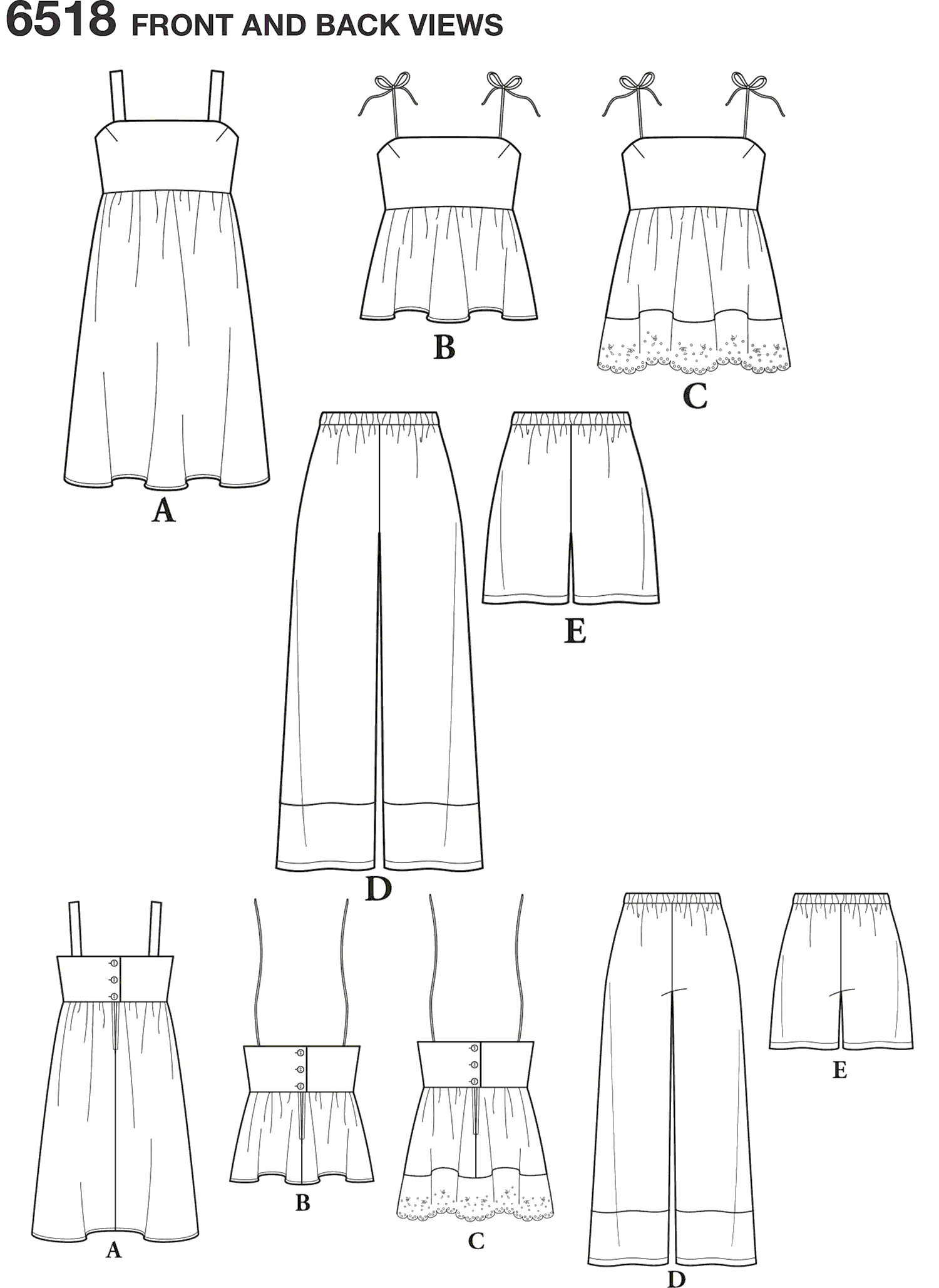 New Look Pattern 6518 Womens Dress Tops in Two Lengths Pants and Shorts Line Art From Patternsandplains.com