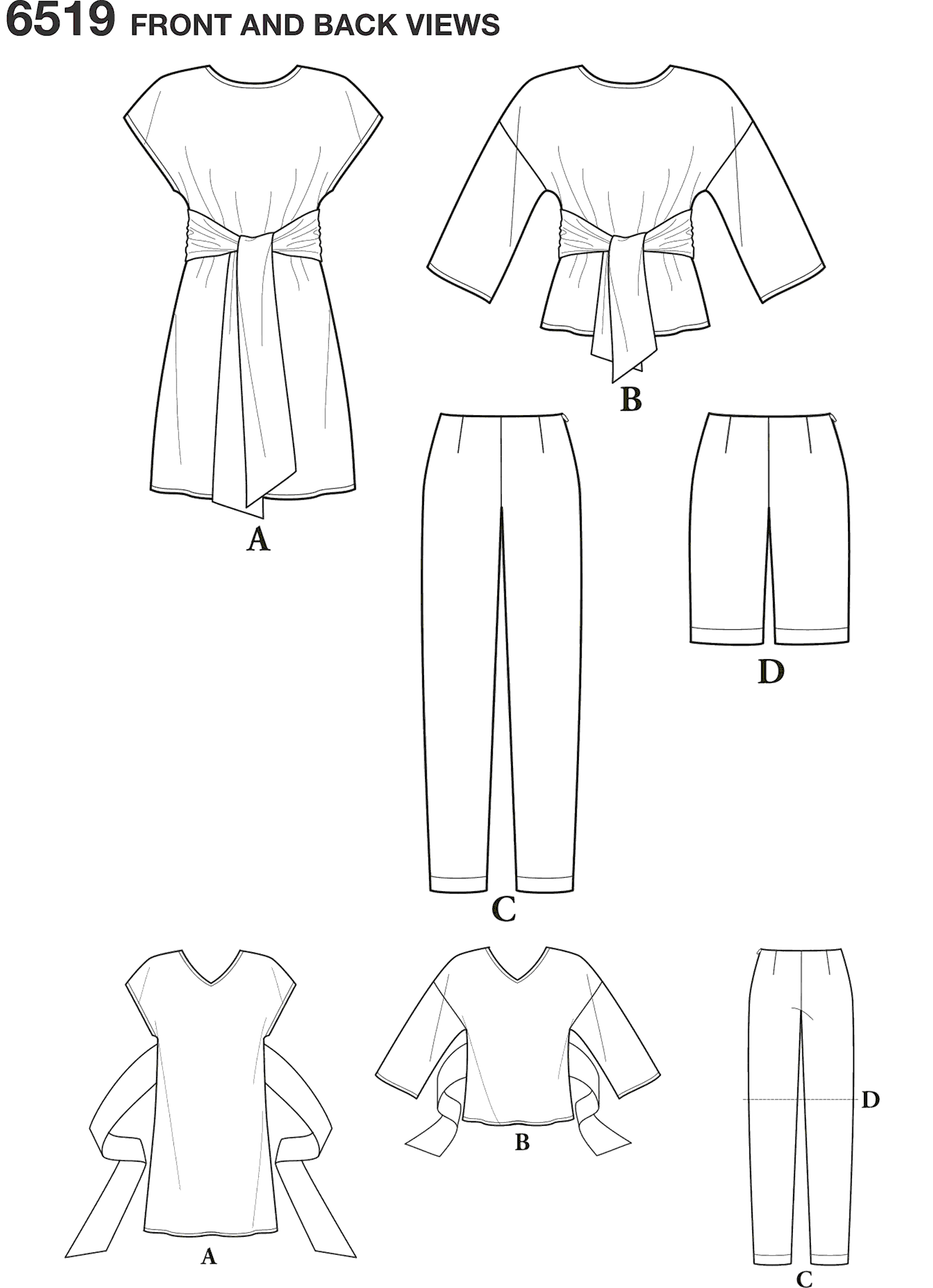 New Look Pattern 6519 Womens Dress or Top and Pants or Shorts Line Art From Patternsandplains.com