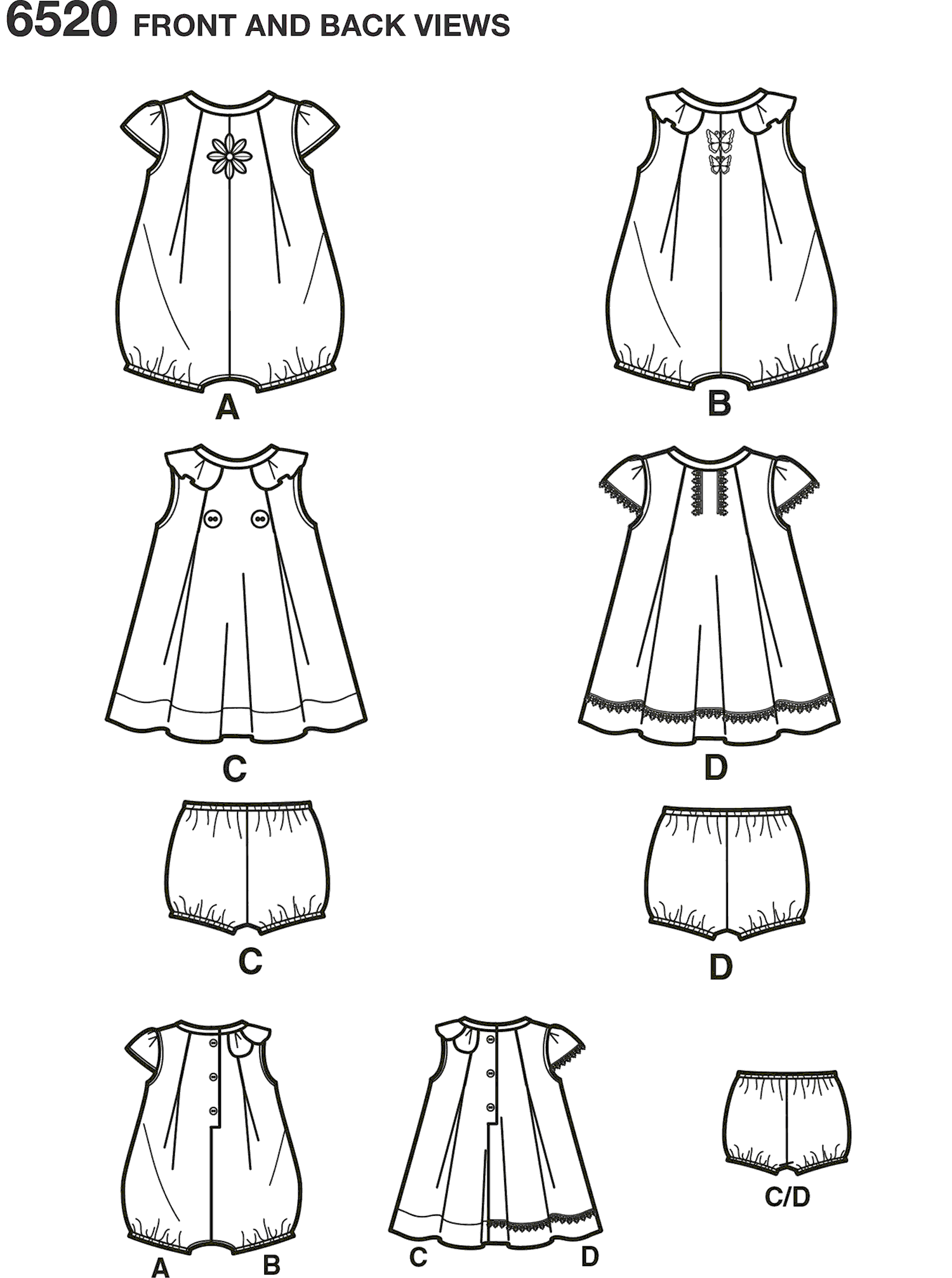 New Look Pattern 6520 Babies Romper and Dress with Panties Line Art From Patternsandplains.com