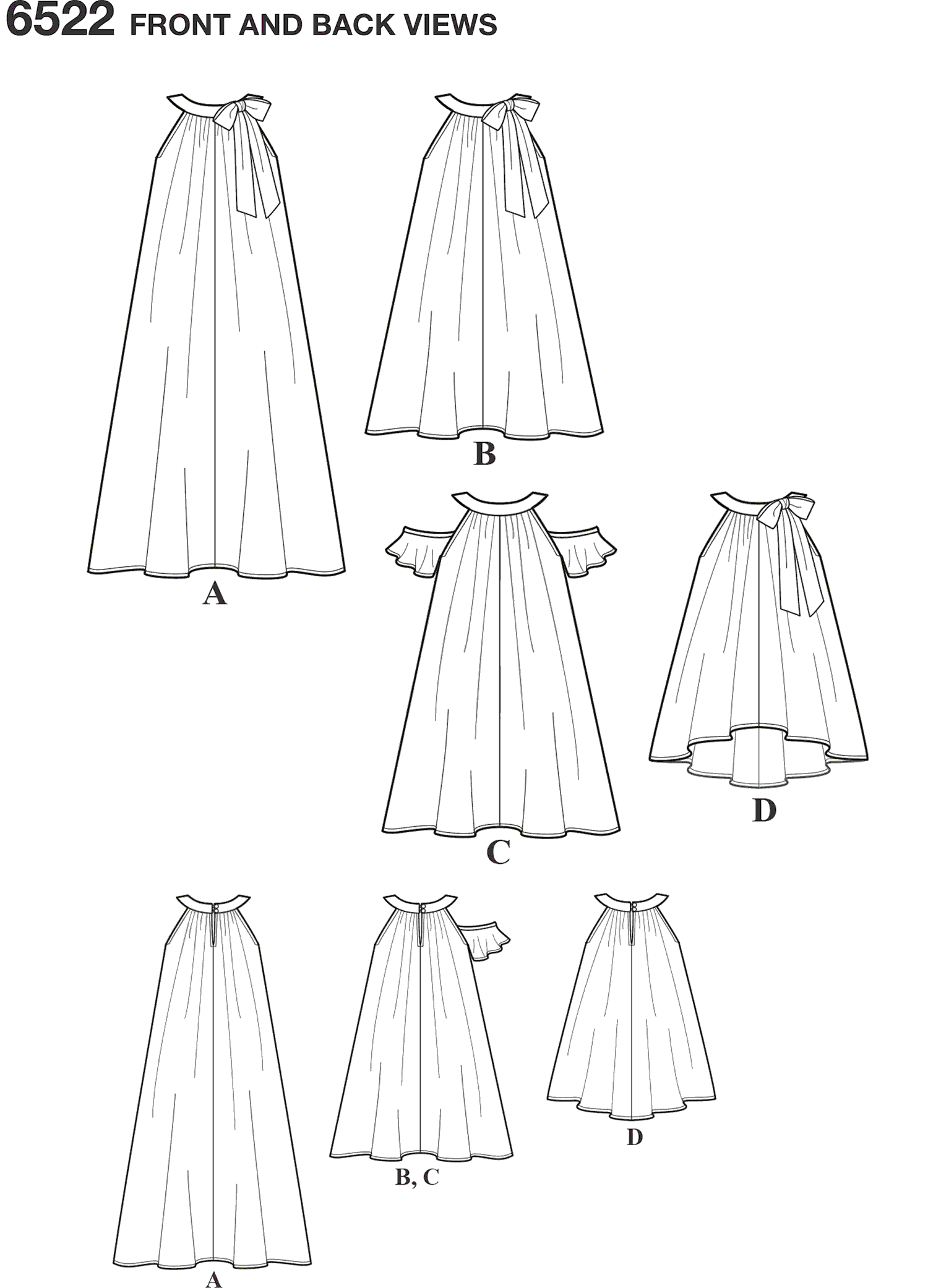 New Look Pattern 6522 Childs and Girls Dresses and Top Line Art From Patternsandplains.com