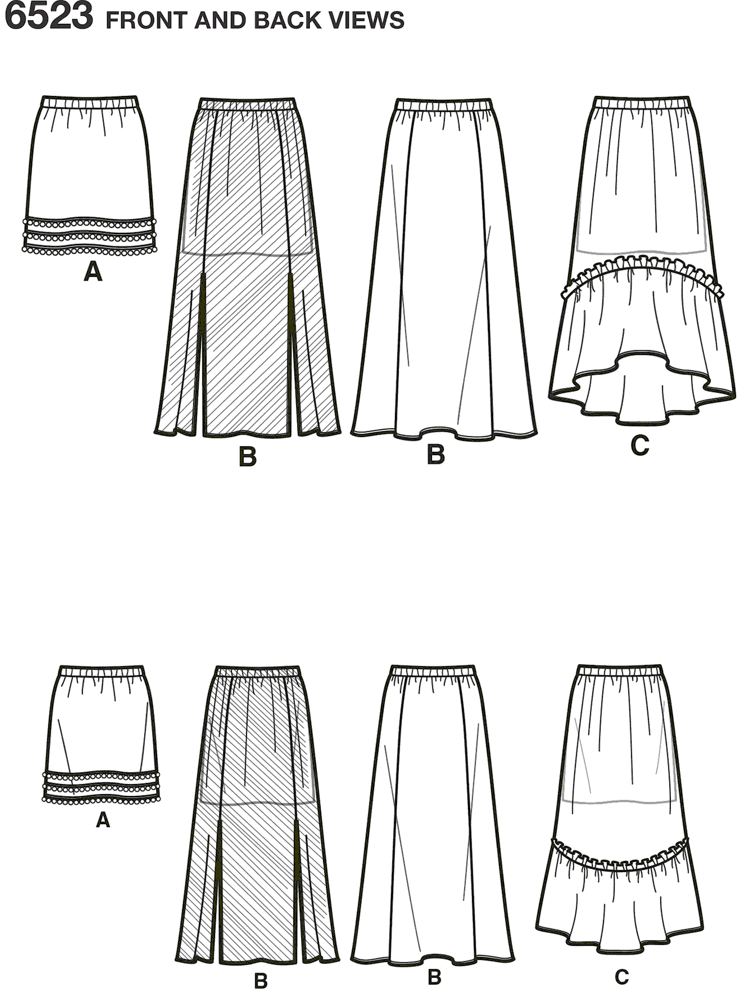 New Look Pattern 6523 Girls Skirts with Length and Fabric Variations Line Art From Patternsandplains.com