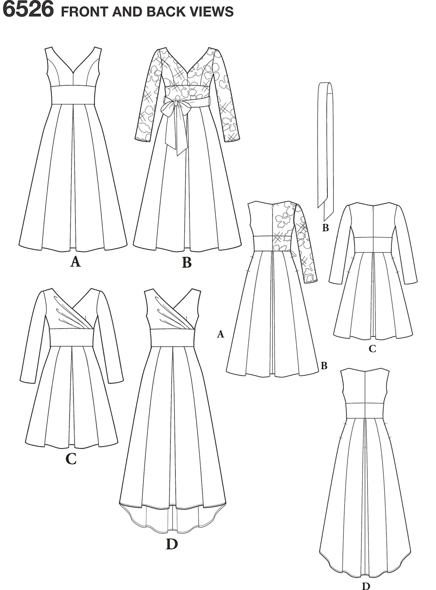 New Look Pattern 6526 Womens Dress With Bodice Variations Line Art From Patternsandplains.com