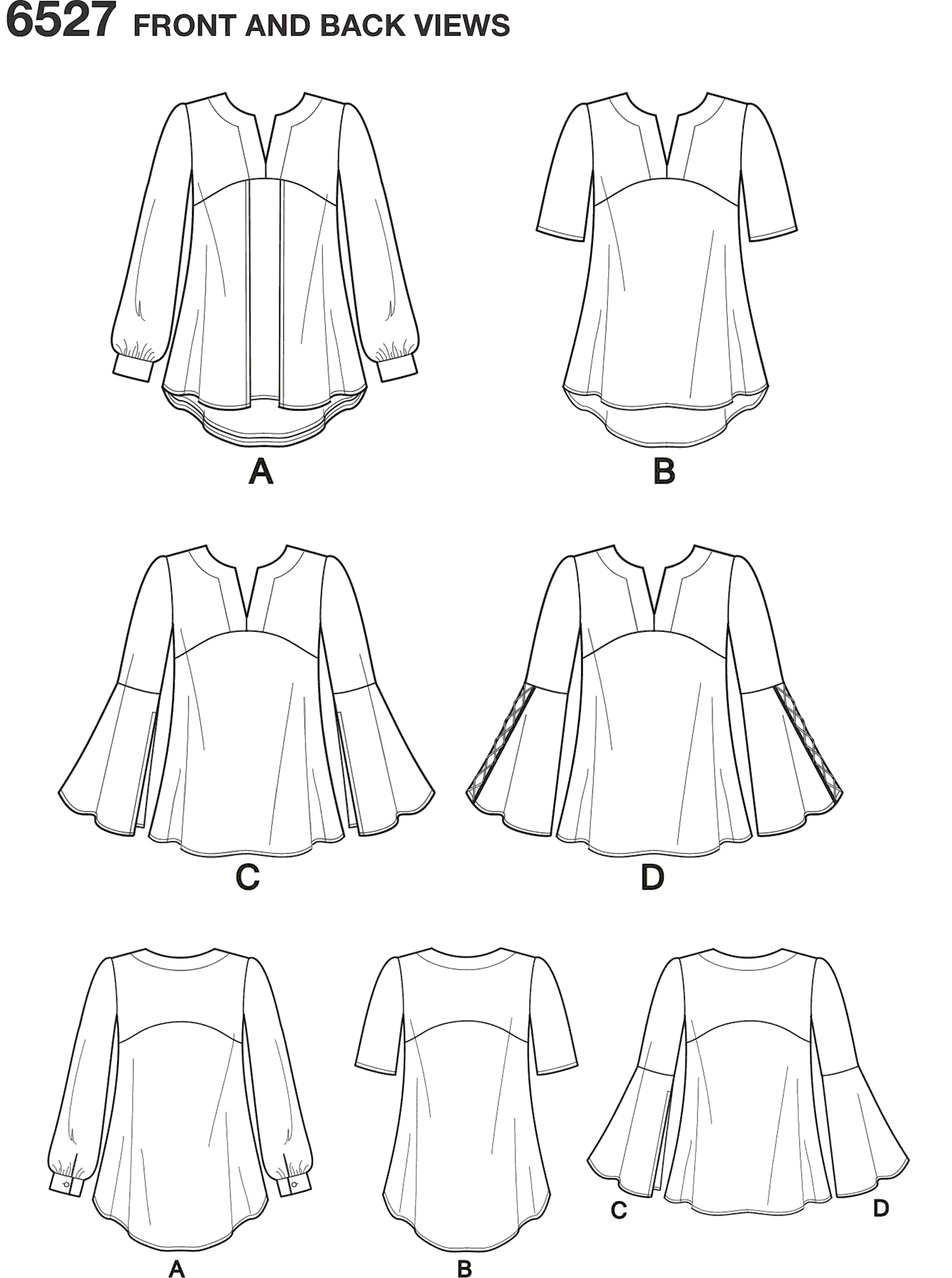 New Look Pattern 6527 Womens Tunic in Two Lengths Line Art From Patternsandplains.com