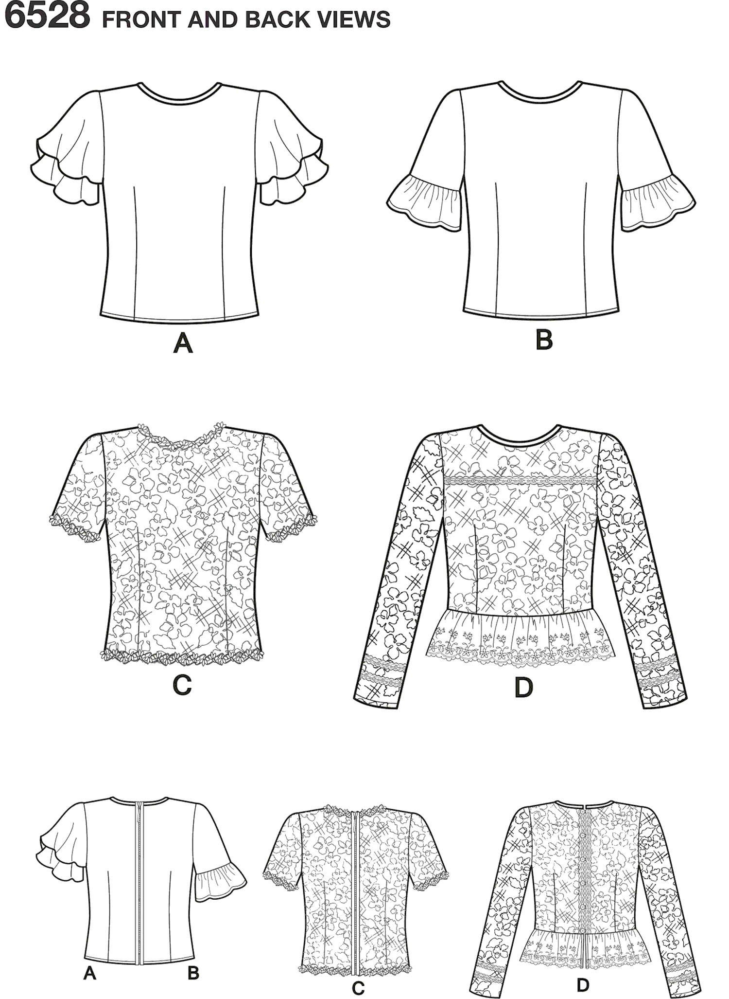 New Look Pattern 6528 Womens Tops with Sleeve and Trim Variations Line Art From Patternsandplains.com