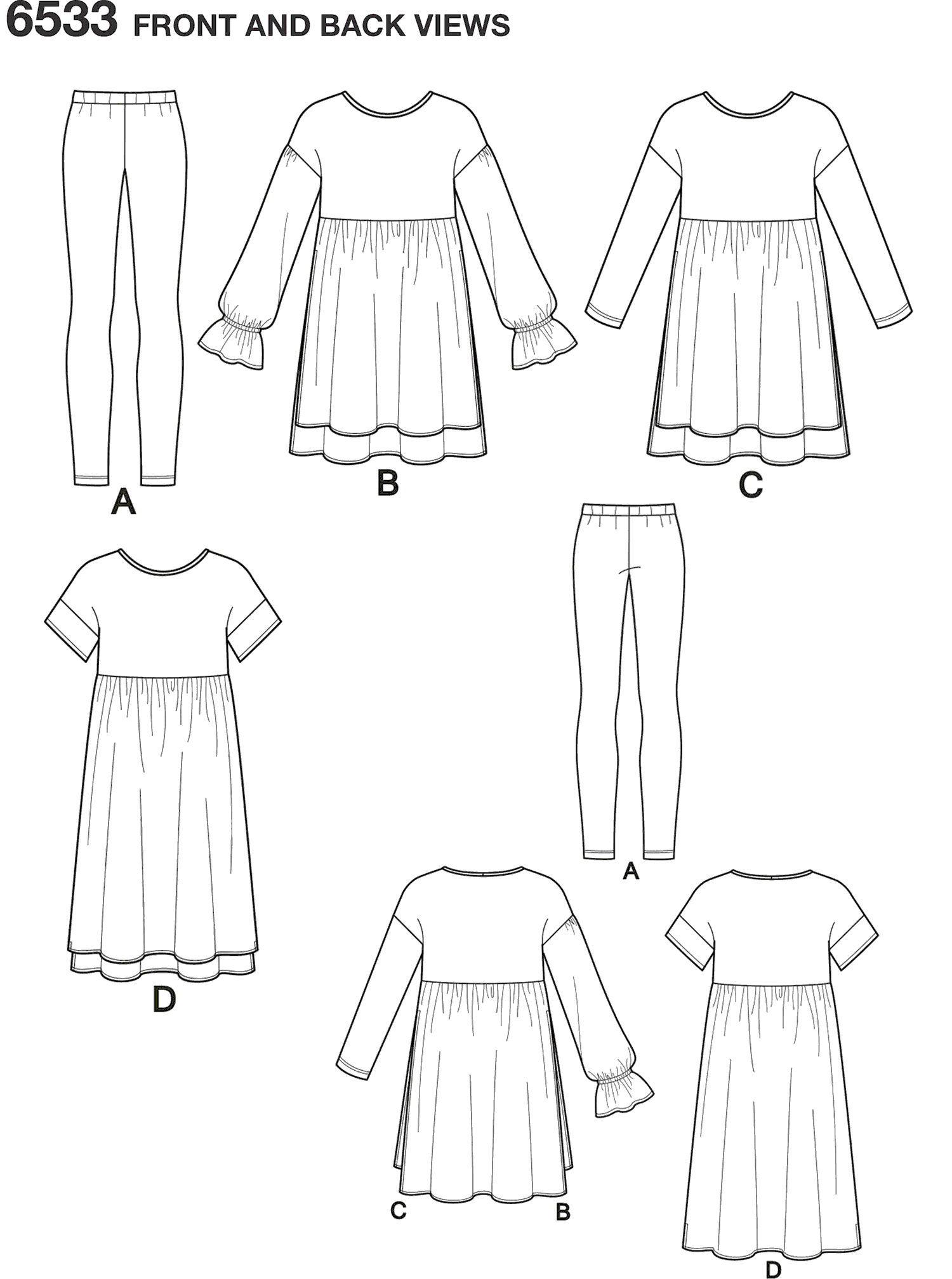 New Look Pattern 6533 Womens Babydoll Top with Leggings Line Art From Patternsandplains.com