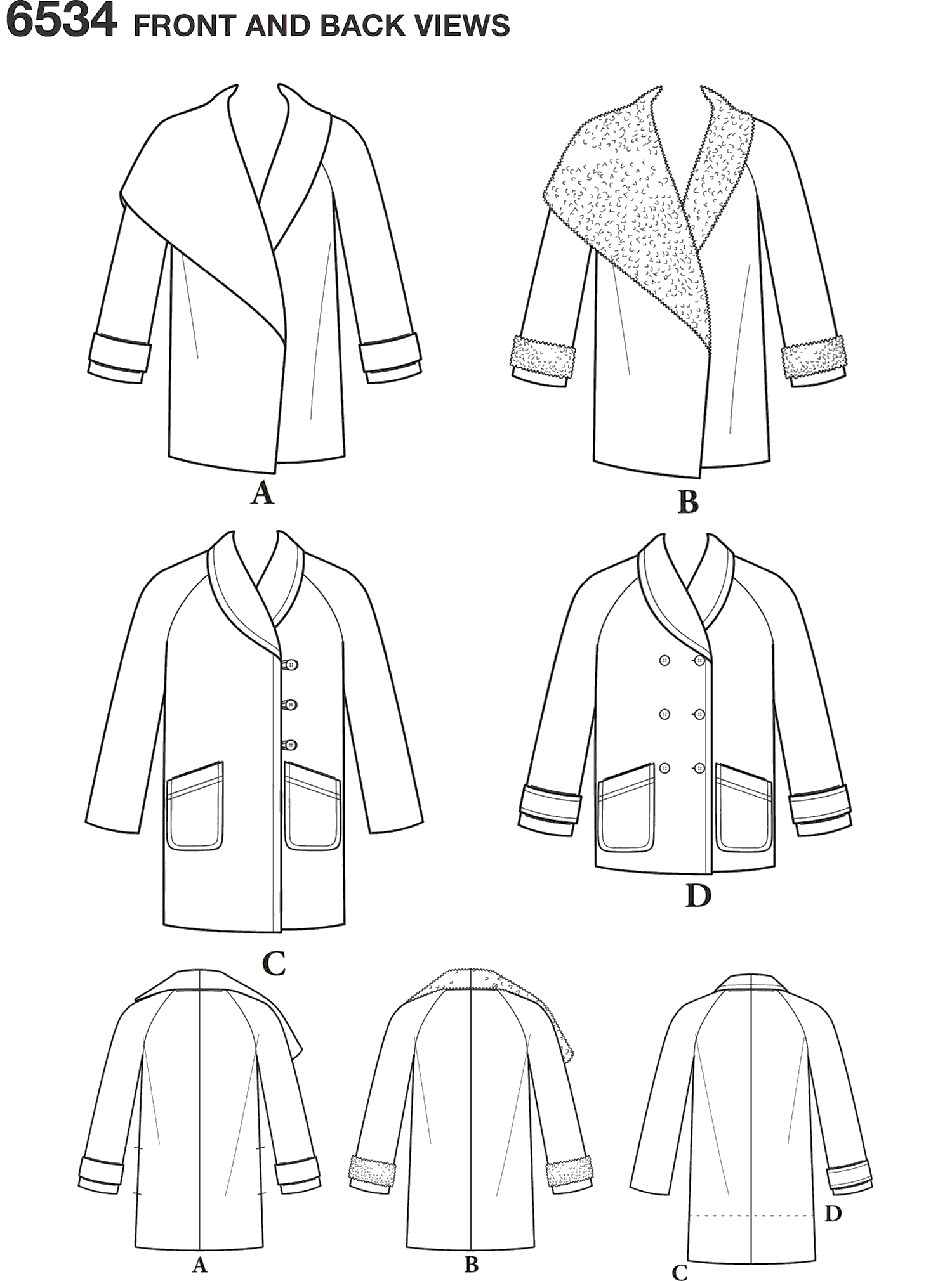 New Look Pattern 6534 Womens Coats Line Art From Patternsandplains.com