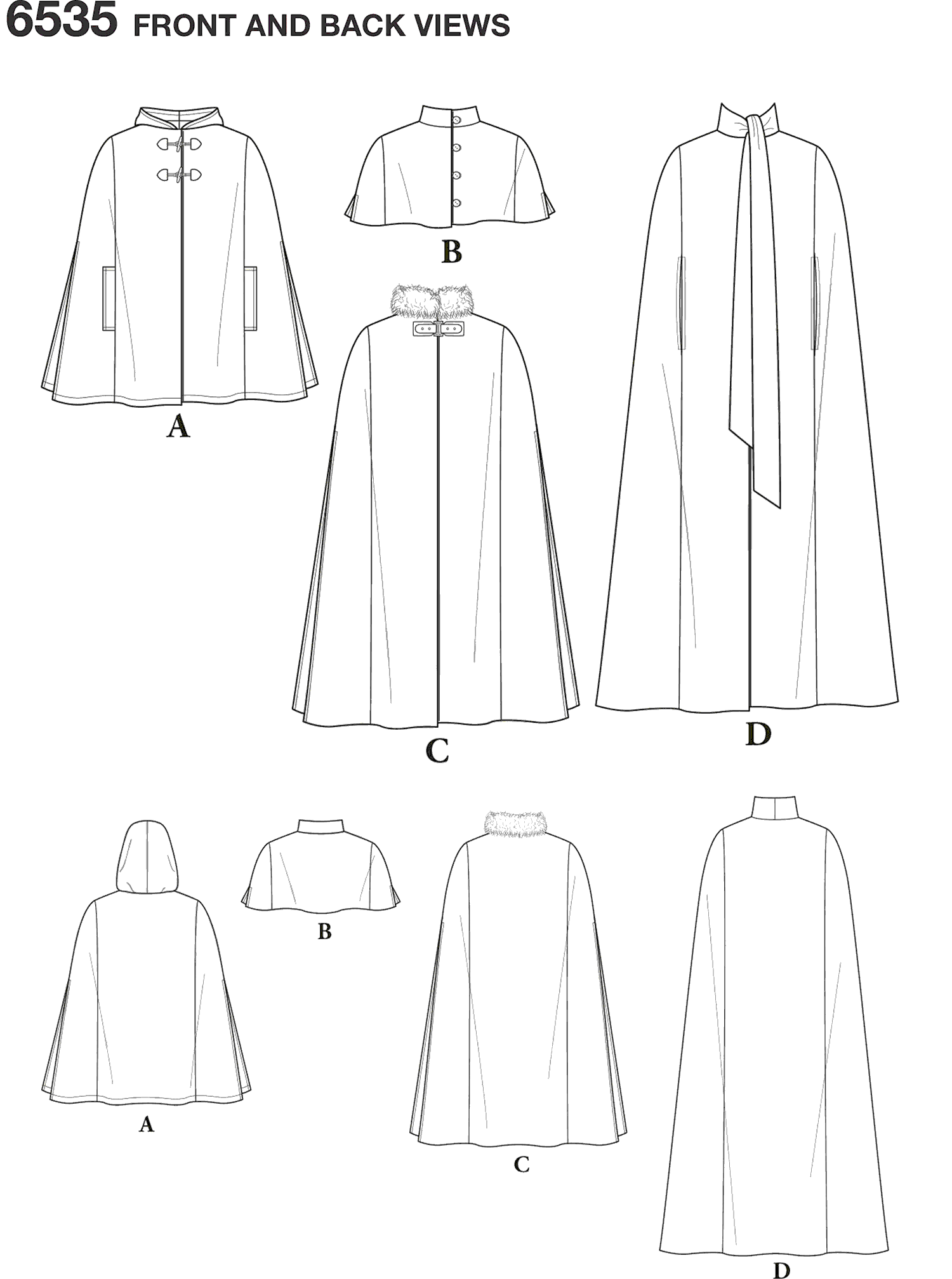 New Look Pattern 6535 Womens Capes in Four Lengths Line Art From Patternsandplains.com