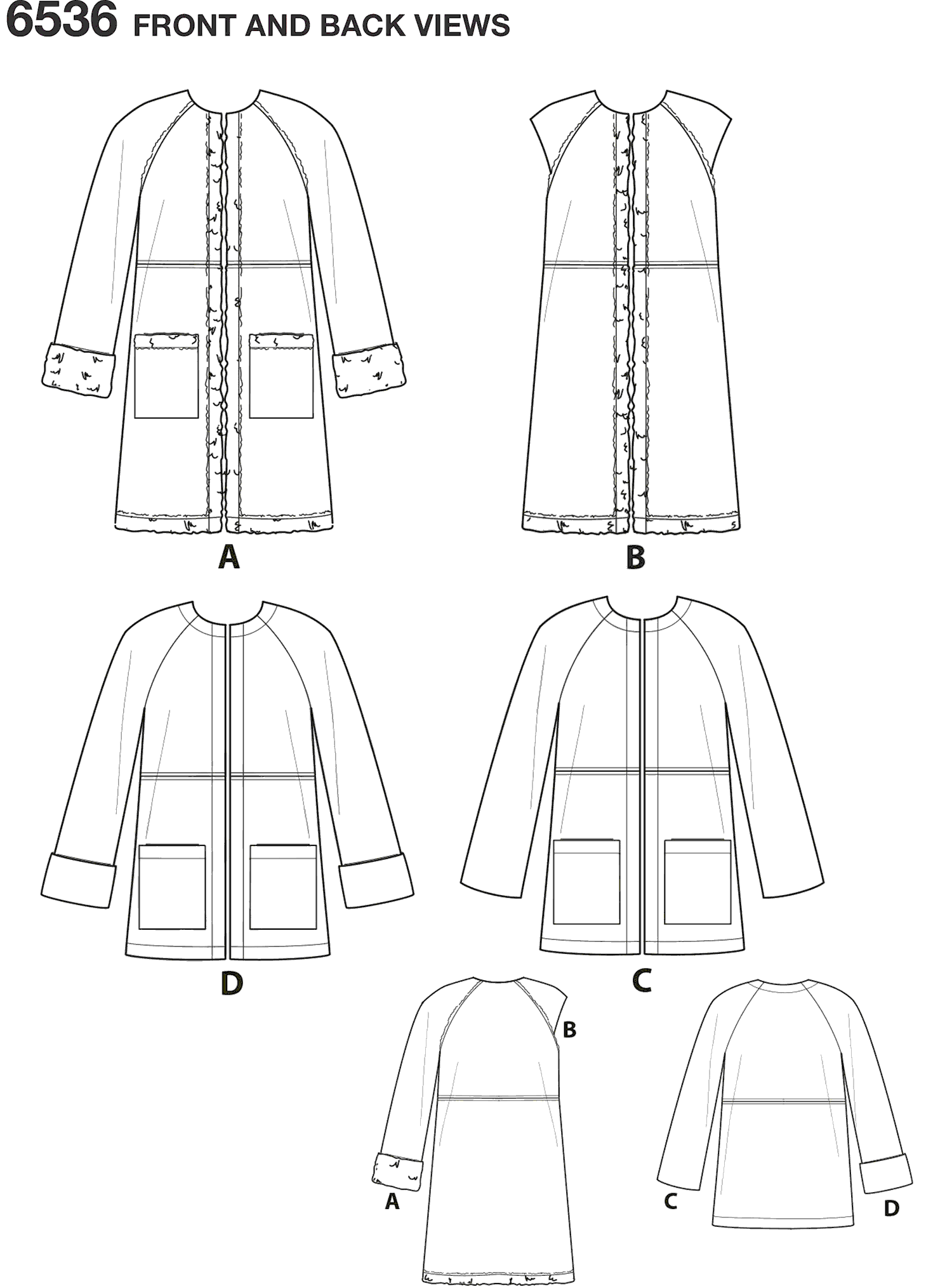 New Look Pattern 6536 Womens Easy Coat in Two Lengths Line Art From Patternsandplains.com