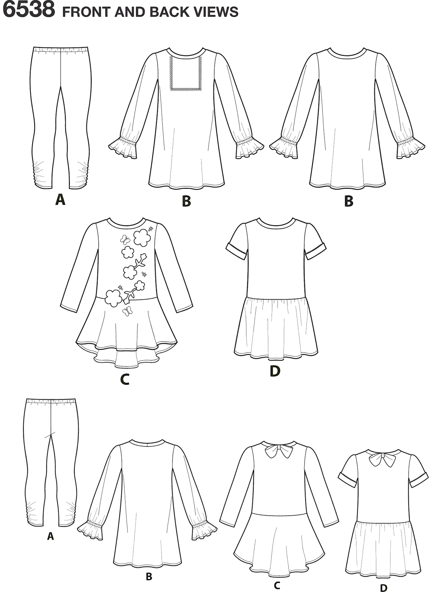 New Look Pattern 6538 Childs Knit Leggings and Dresses Line Art From Patternsandplains.com