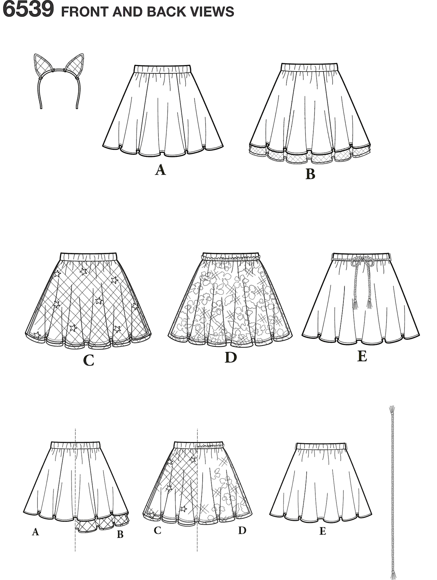New Look Pattern 6539 Tween Skirts with Ears Headband Line Art From Patternsandplains.com