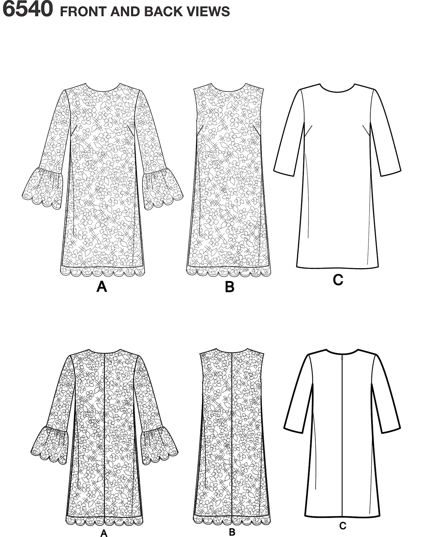 New Look Pattern 6540 Misses Shift Dress Line Art From Patternsandplains.com