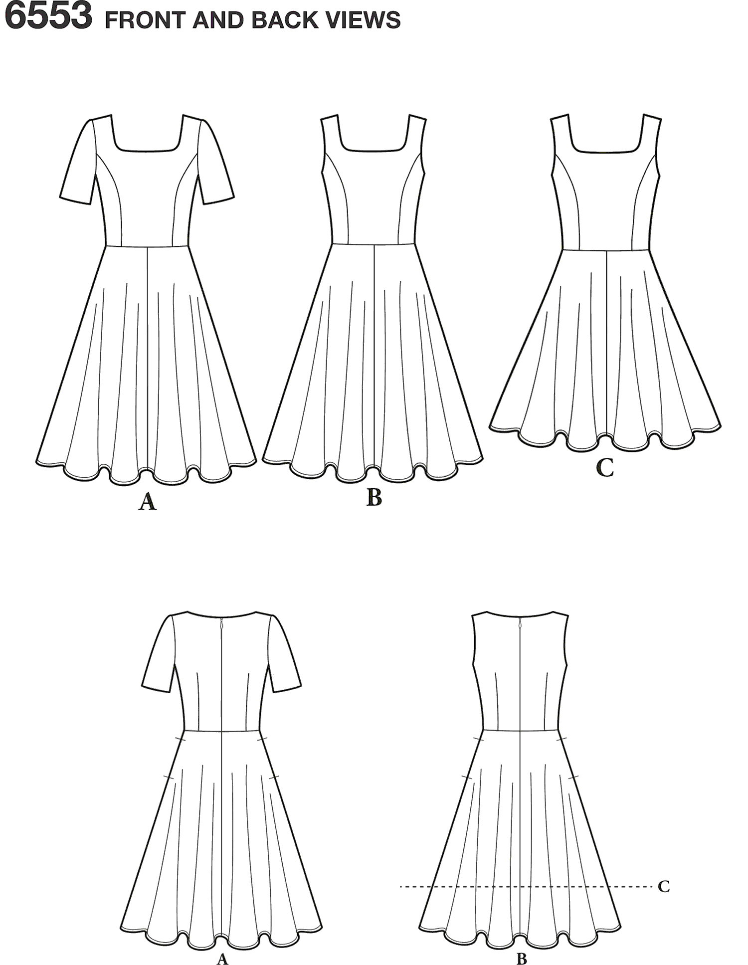 New Look Pattern 6553 Womens Dress in Two Lengths Line Art From Patternsandplains.com