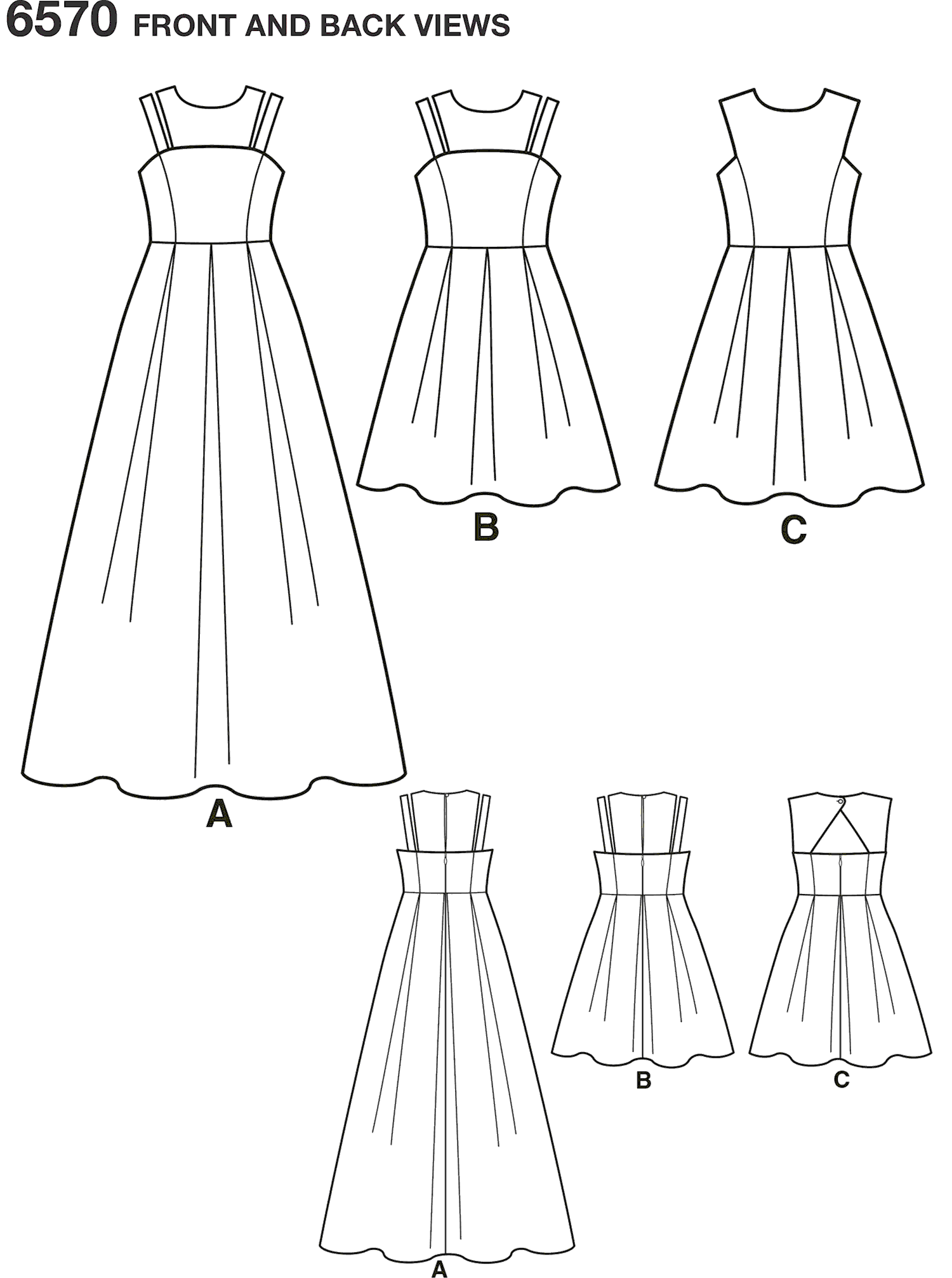 New Look Pattern 6570 Girls Dress in Two Lengths Line Art From Patternsandplains.com