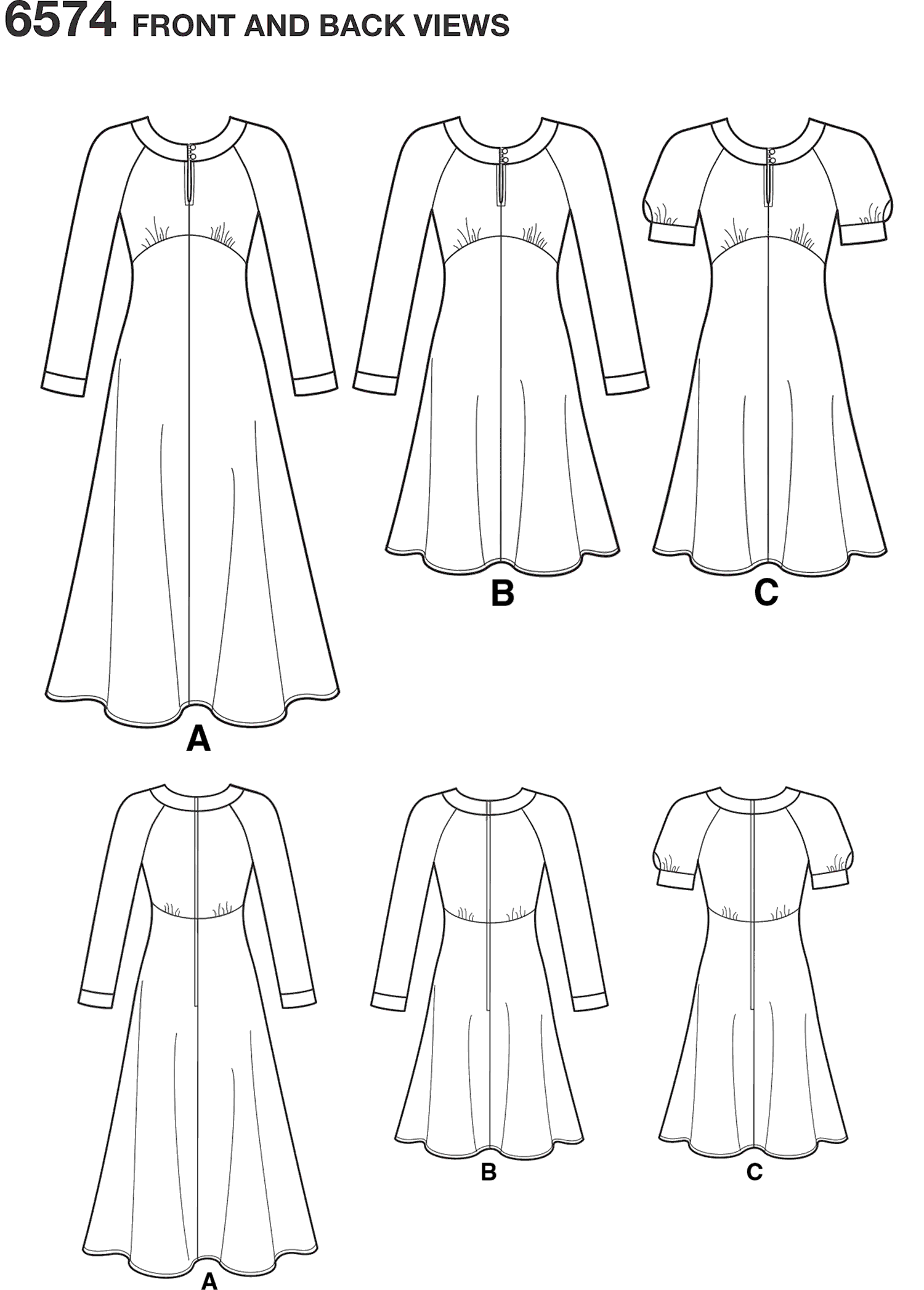 New Look Pattern 6574 Misses Dresses Line Art From Patternsandplains.com