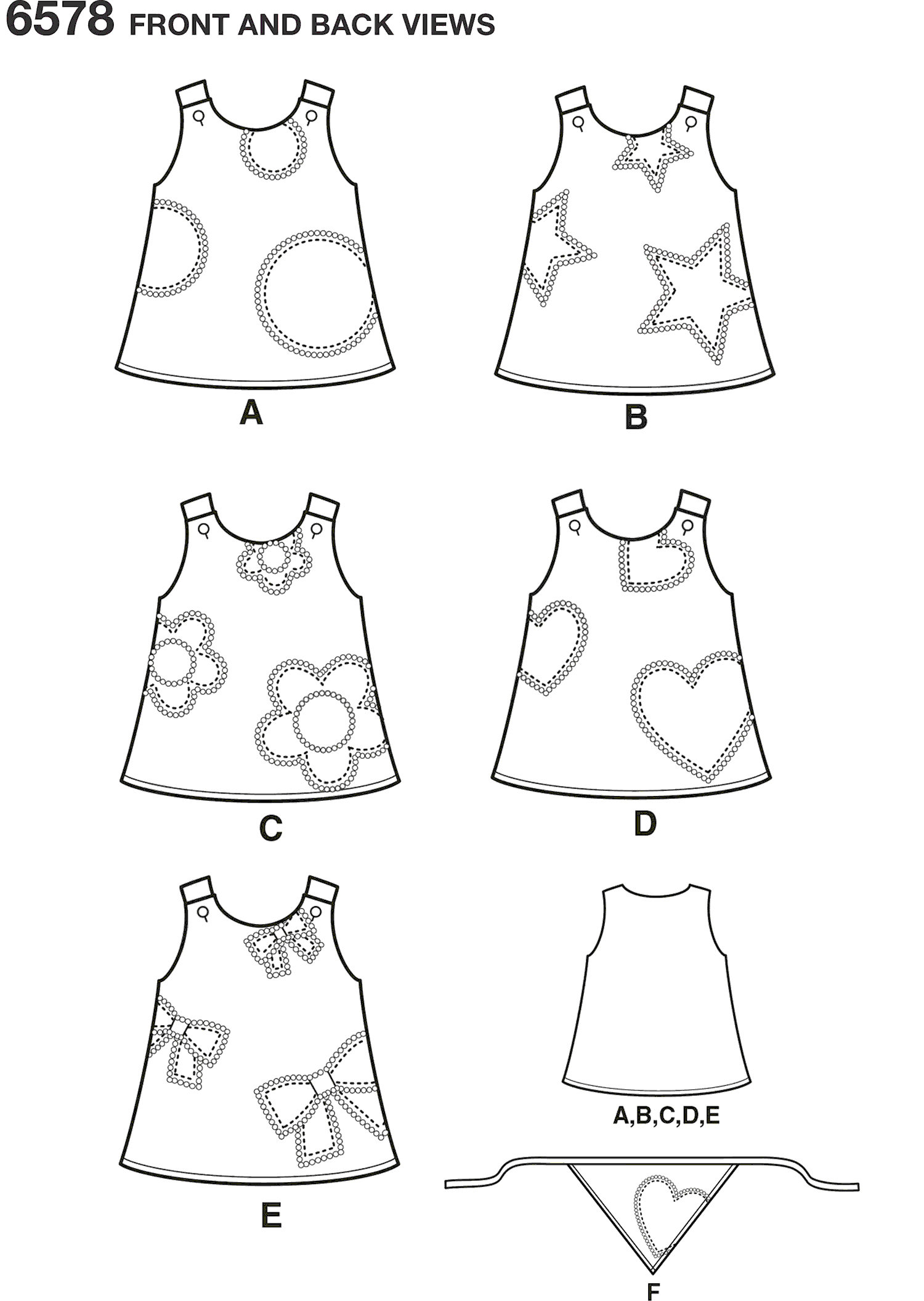 New Look Pattern 6578 Toddler Dresses Line Art From Patternsandplains.com