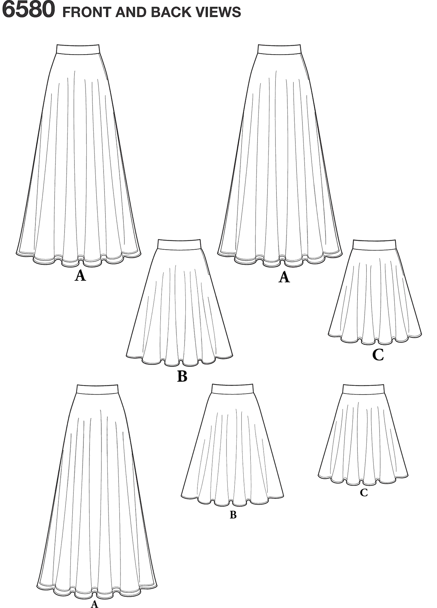New Look Pattern 6580 Misses Circle Skirt Line Art From Patternsandplains.com