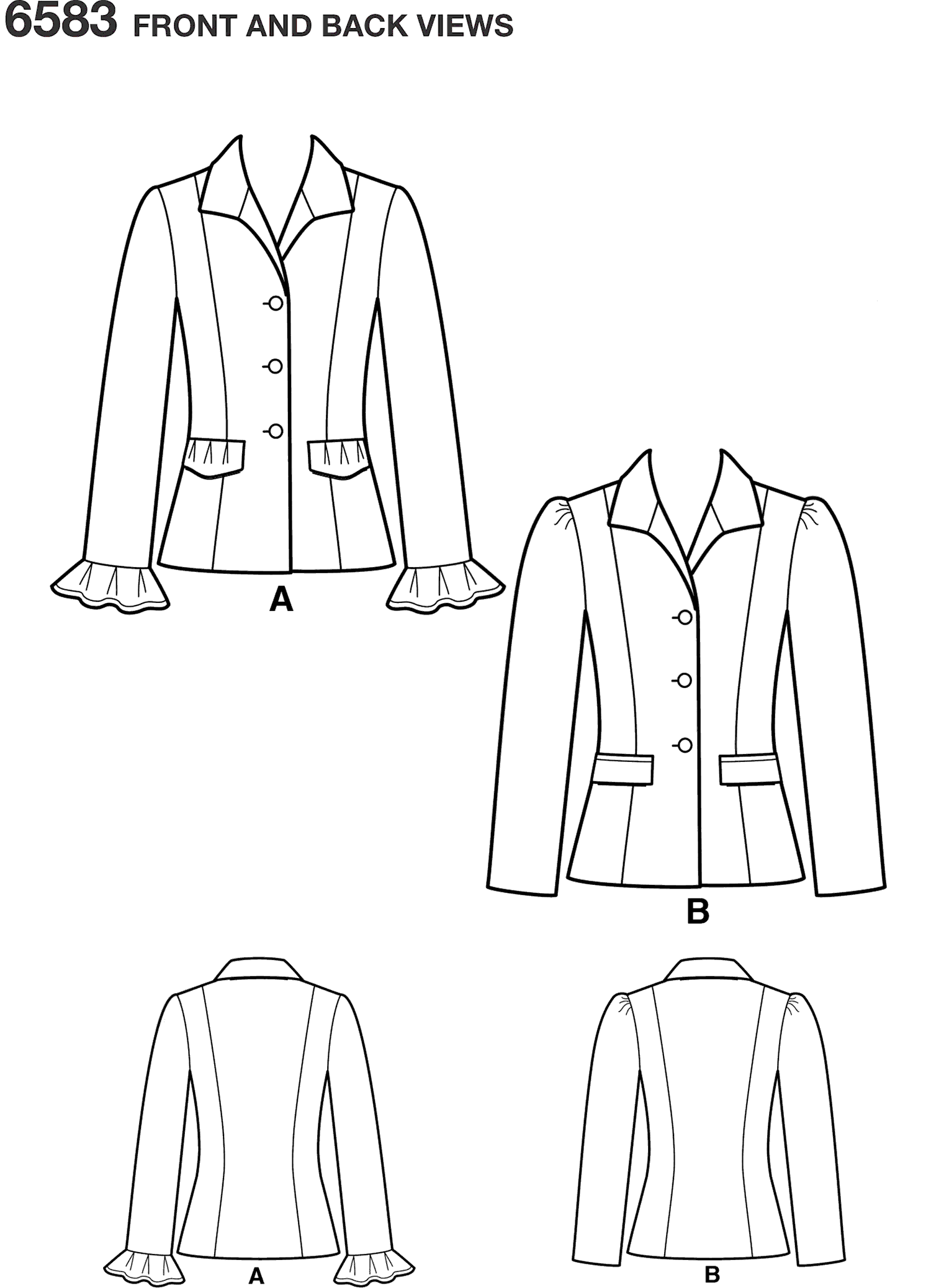 New Look Pattern 6583 Misses Lined Jacket Line Art From Patternsandplains.com