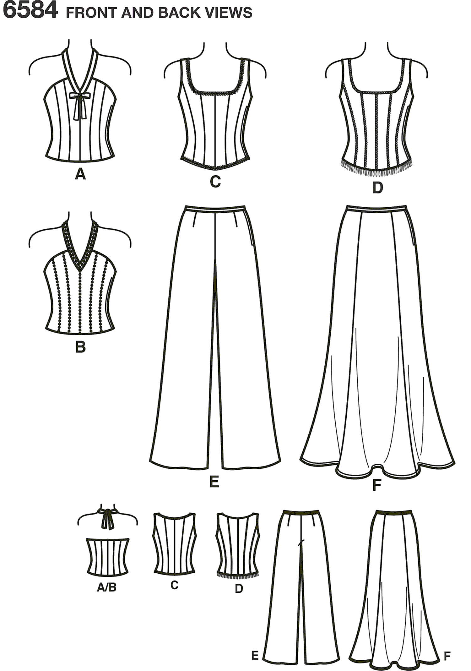 New Look Pattern 6584 Misses Special Occasion Dresses Line Art From Patternsandplains.com