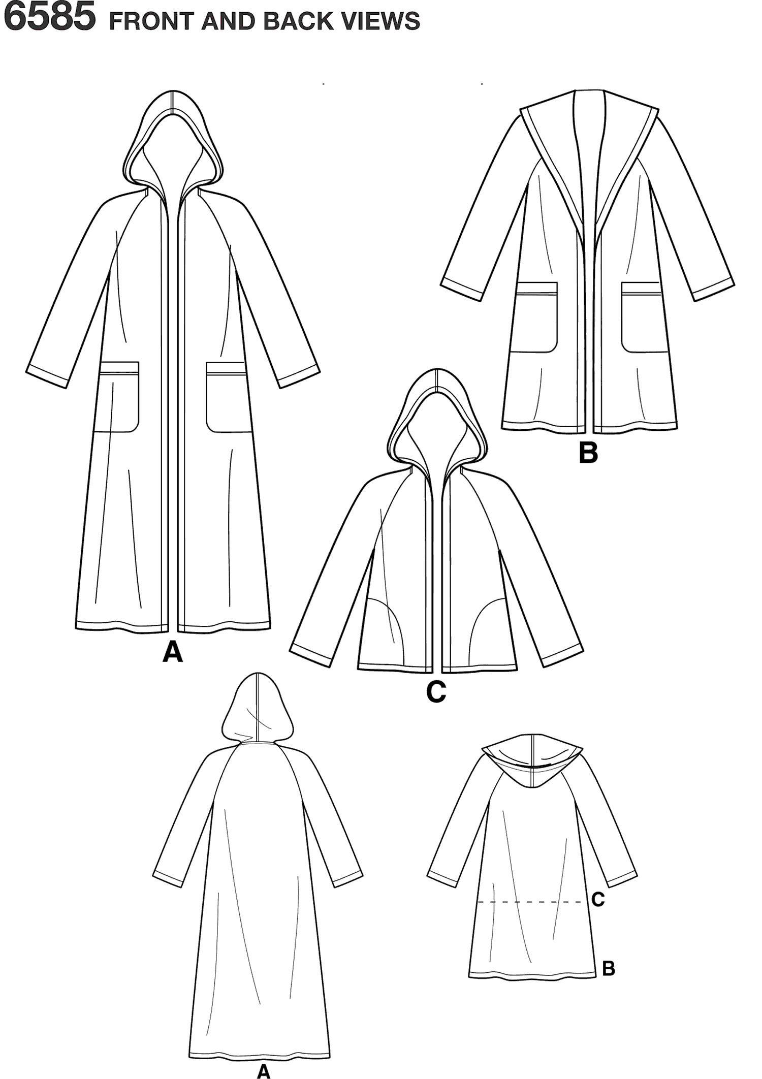 New Look Pattern 6585 Misses Coat with Hood Line Art From Patternsandplains.com