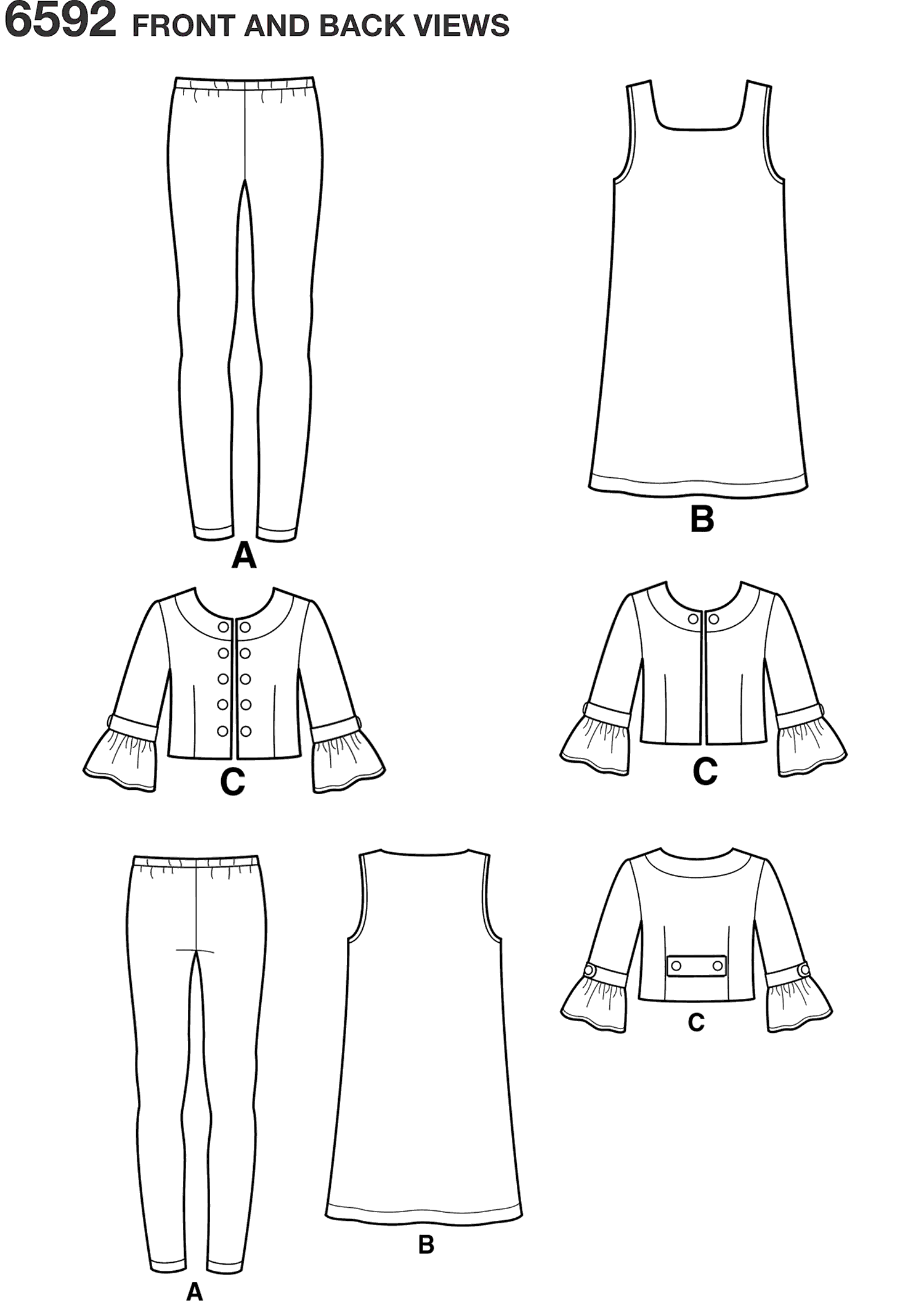 New Look Pattern 6592 Girls Sportswear Line Art From Patternsandplains.com